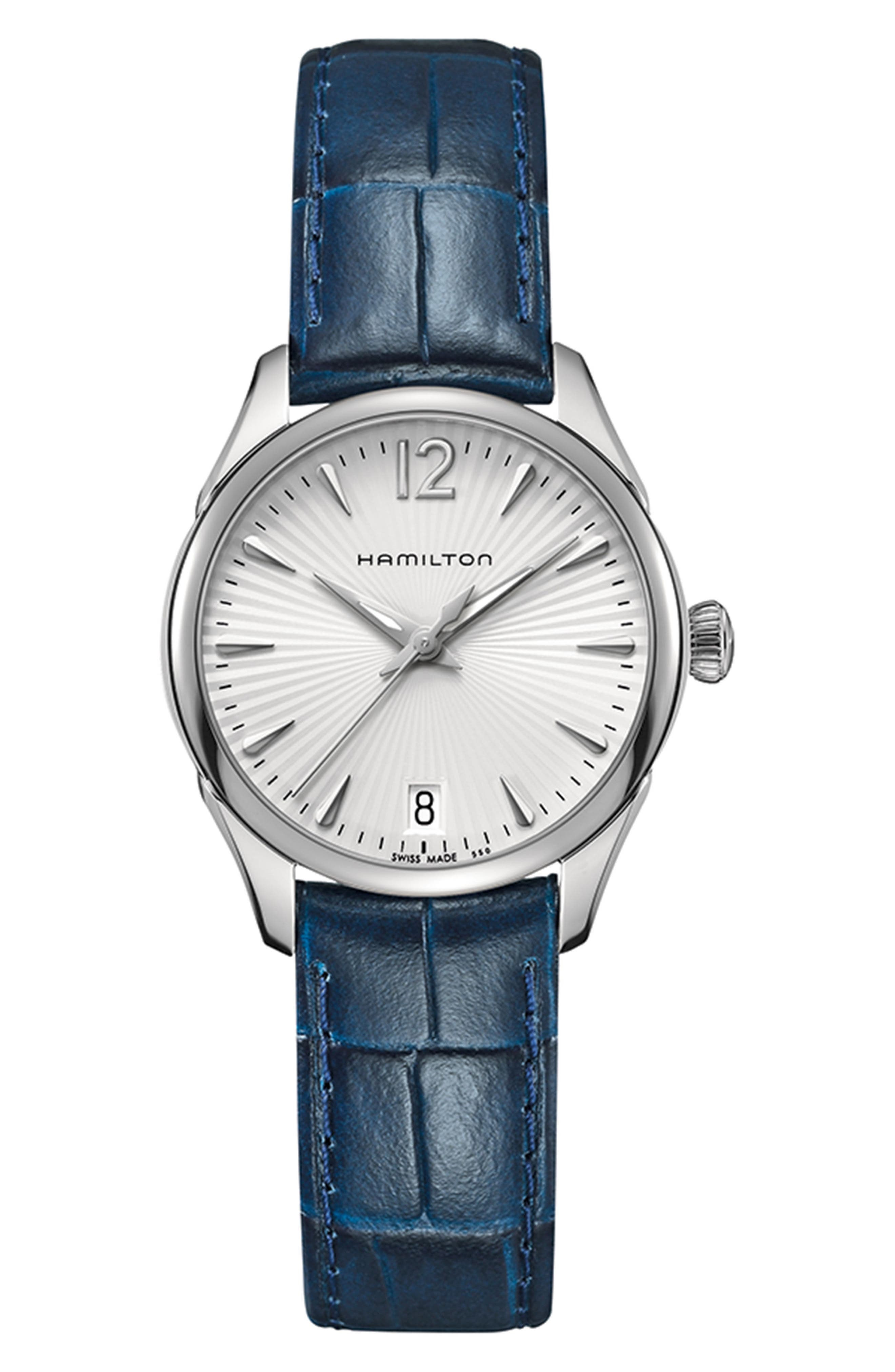 Jazzmaster Leather Strap Watch, 30mm,                             Main thumbnail 1, color,                             Blue/ Silver