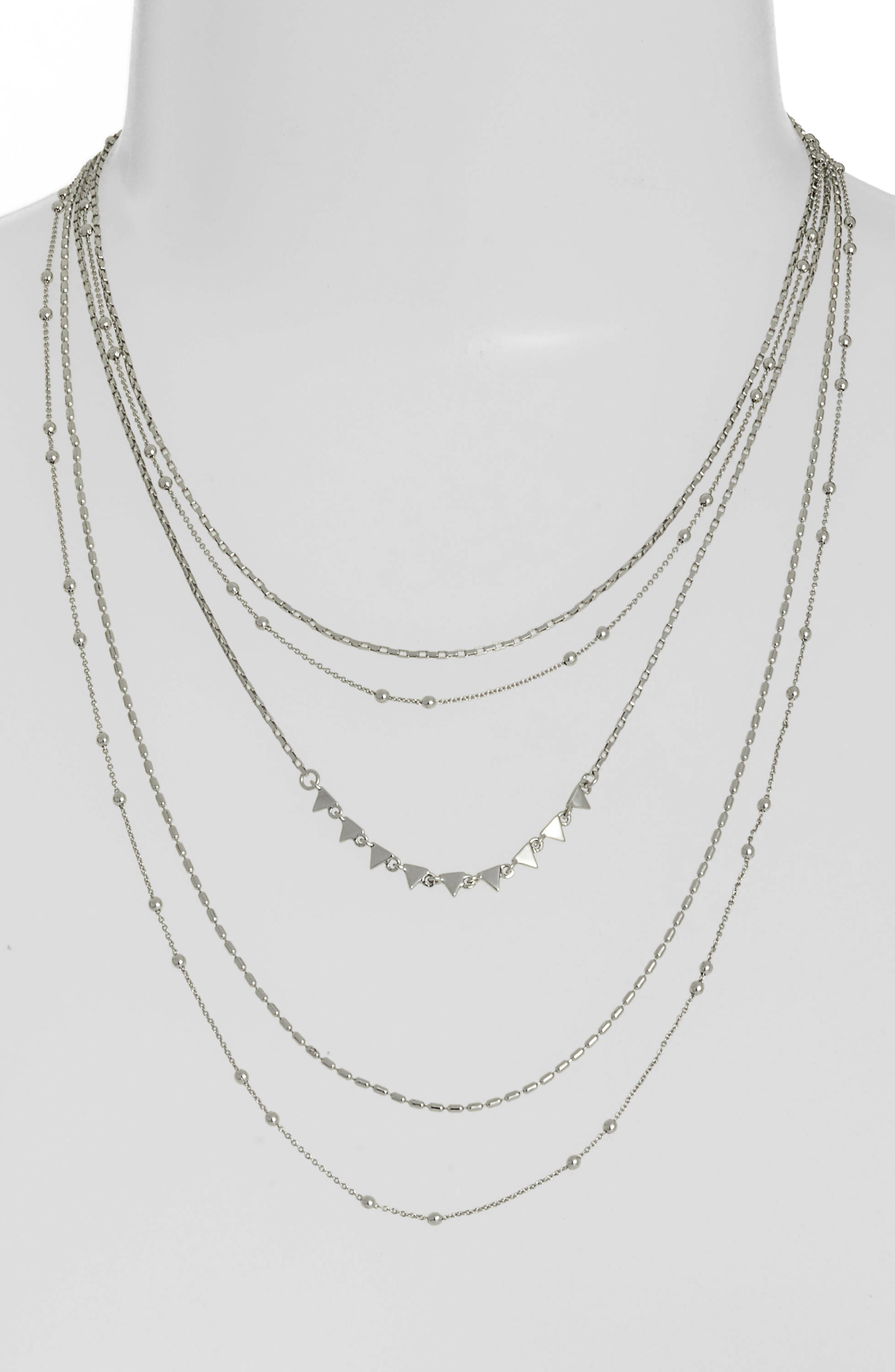 Zoe Multistrand Necklace,                             Main thumbnail 1, color,                             Silver