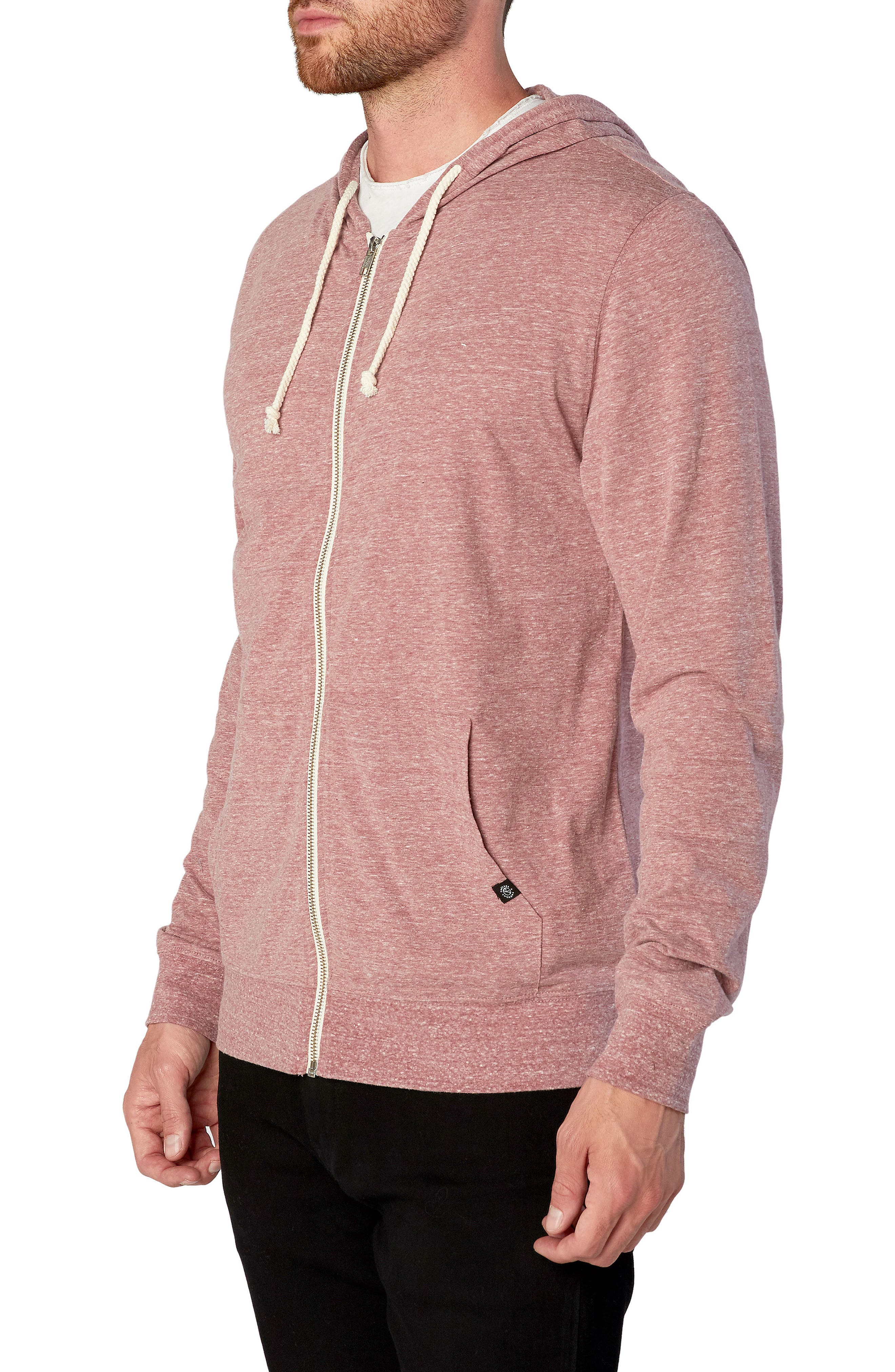 Threads for Thought Giulio Zip Hoodie,                             Alternate thumbnail 3, color,                             Brick Red
