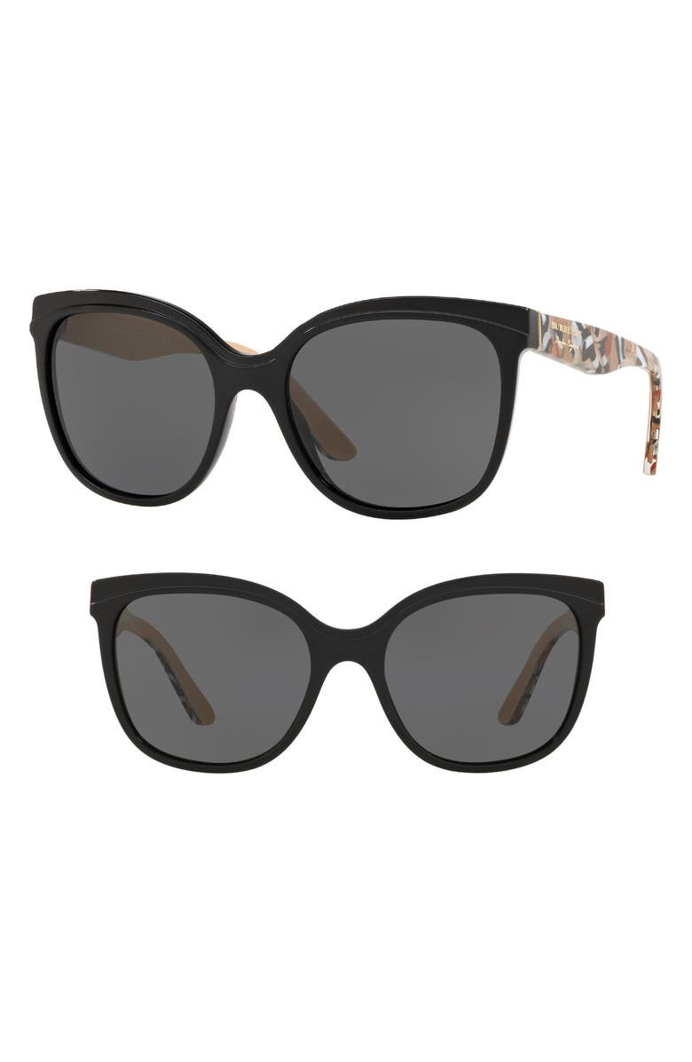 7b02e9b7cc4 Burberry Gradient Butterfly Sunglasses W  Check Print Trim In Black   Grey