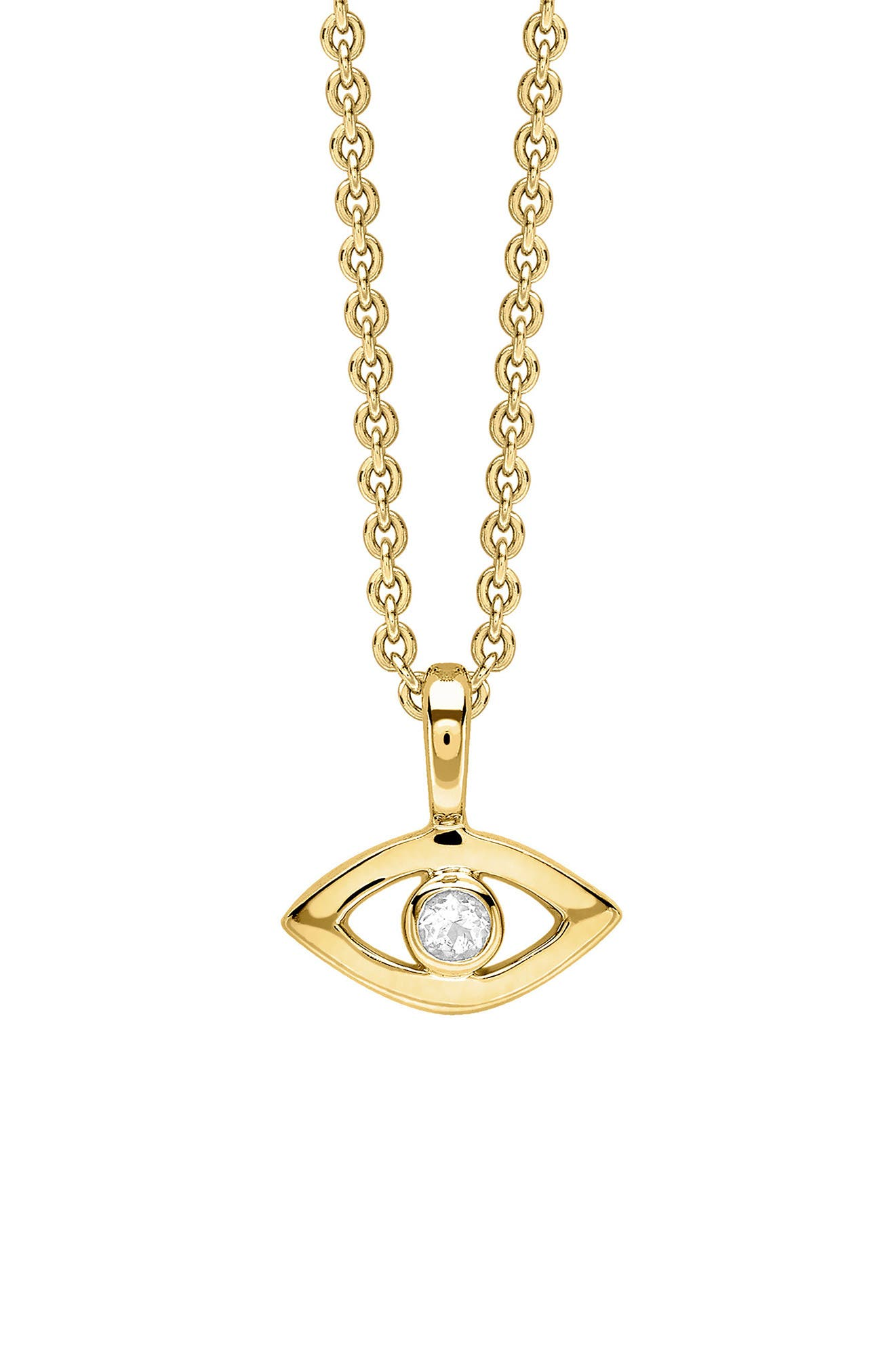 Evil Eye Necklace,                         Main,                         color, Gold