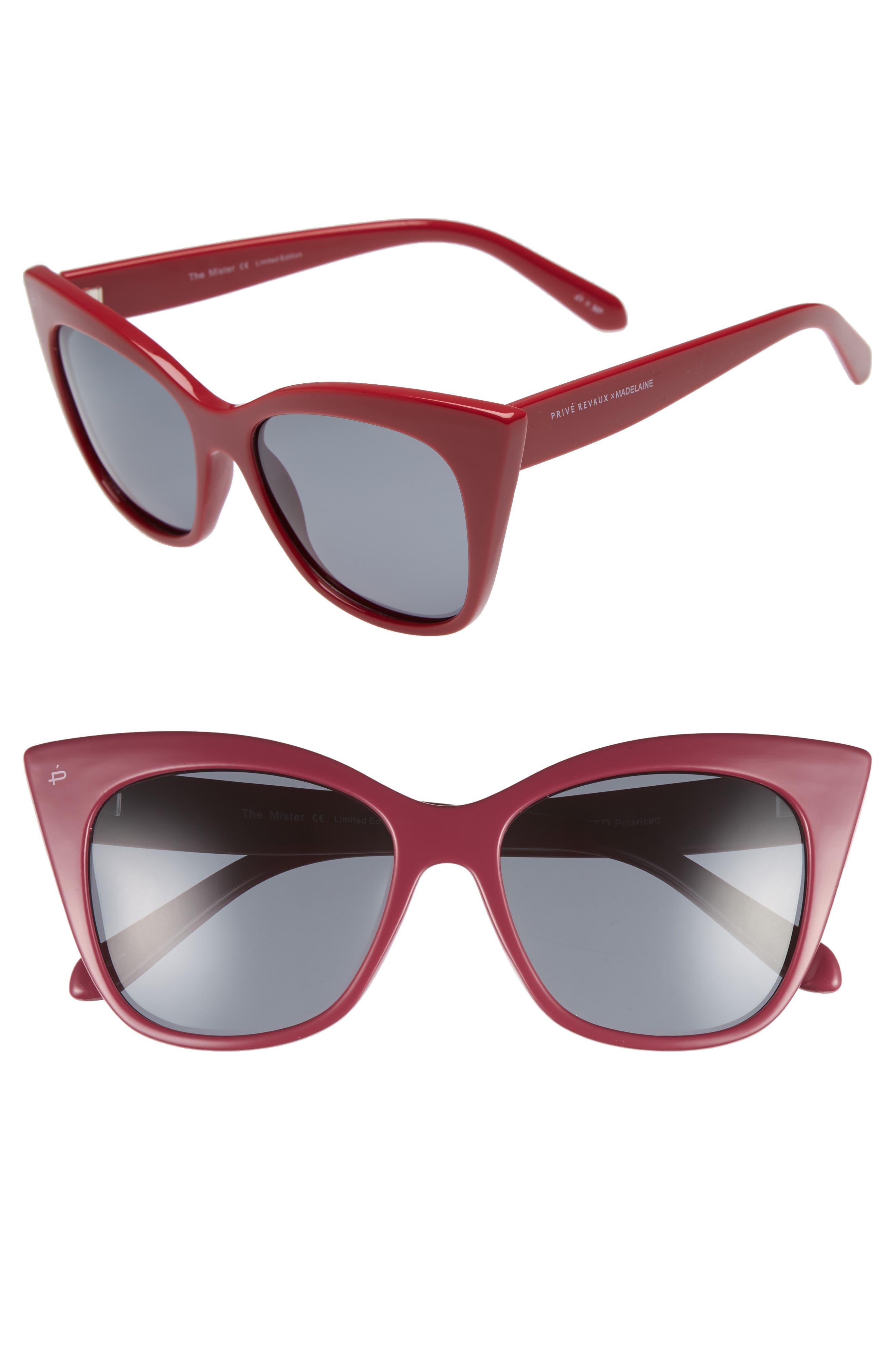 Privé Revaux x Madelaine Petsch The Mister 54mm Cat Eye Sunglasses,                             Main thumbnail 1, color,                             Red/ Black