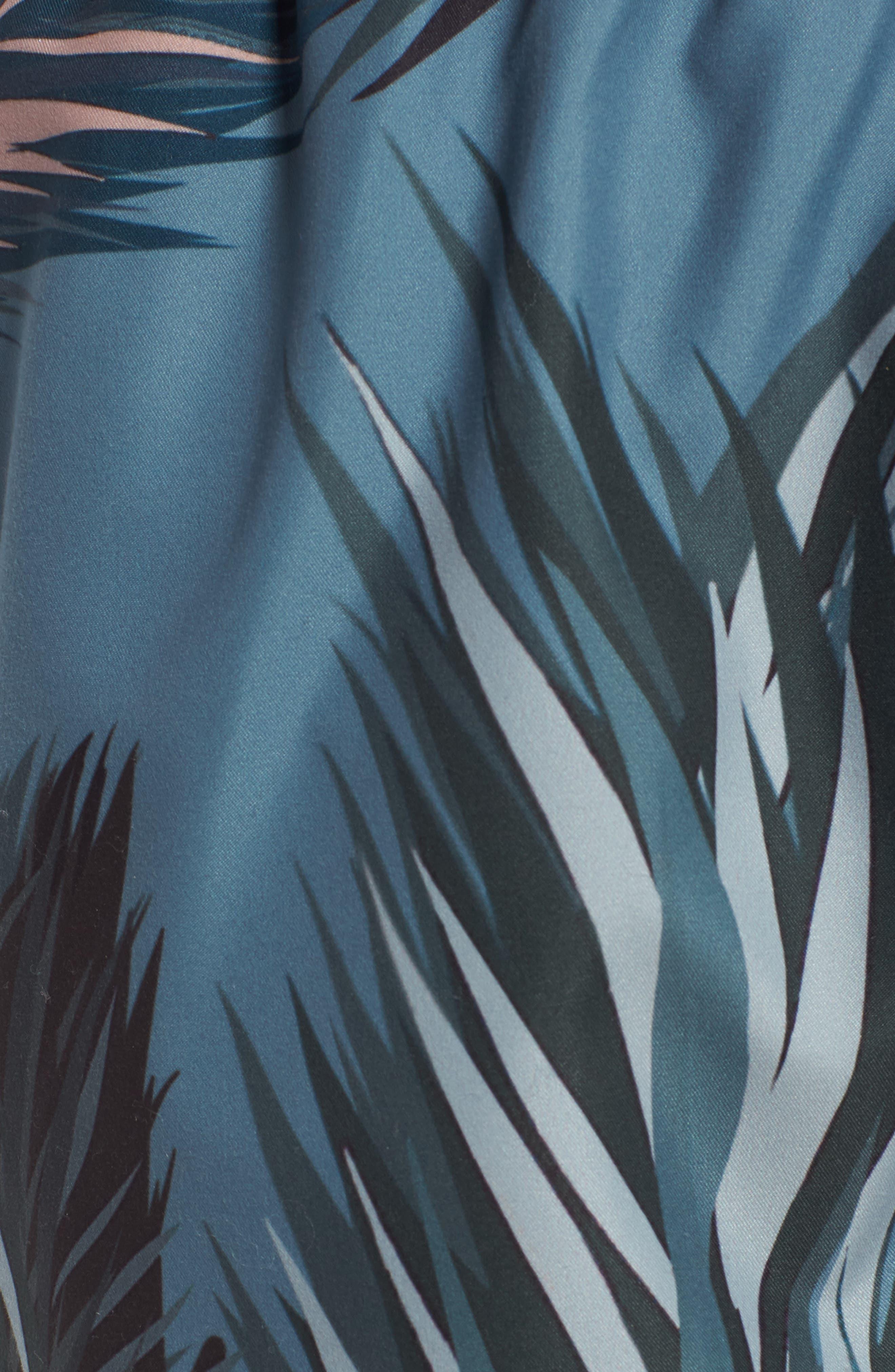 Raynebo Slim Fit Palm Leaf Swim Trunks,                             Alternate thumbnail 5, color,                             Dark Green