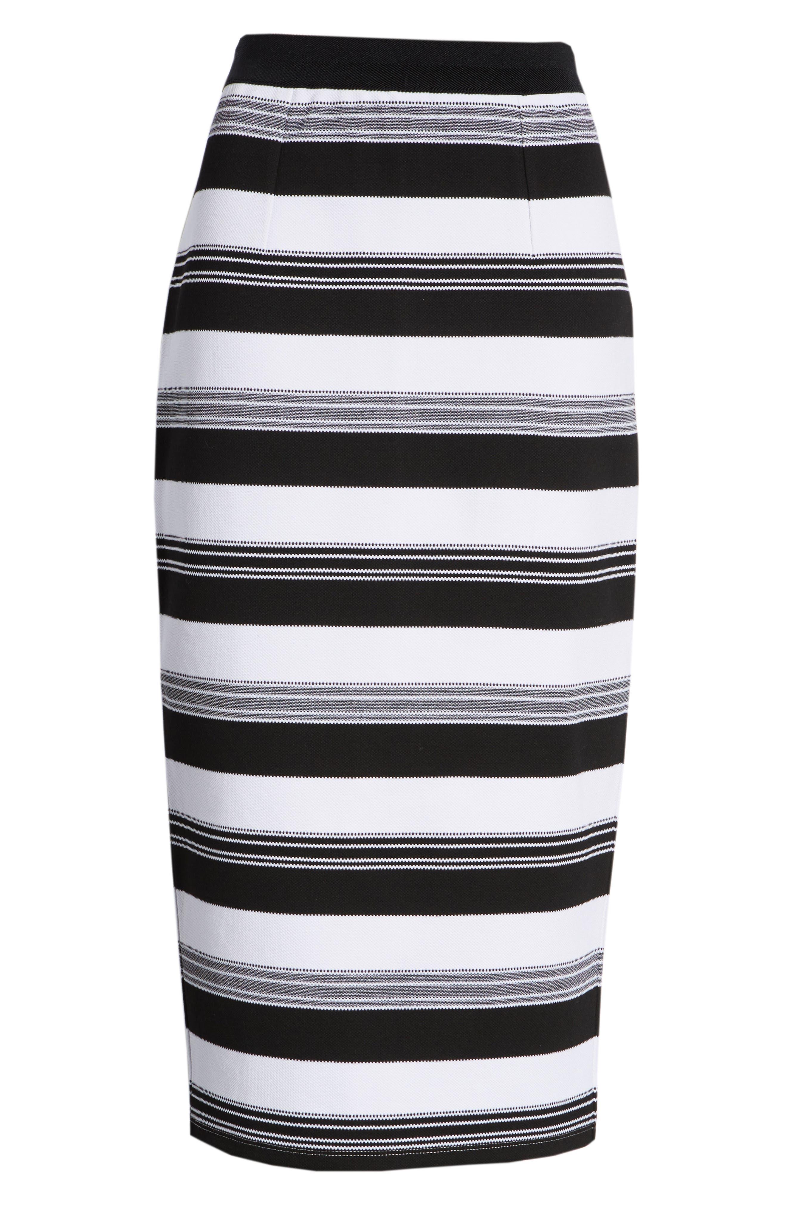 Knit Pencil Skirt,                             Alternate thumbnail 6, color,                             Black- Ivory Stripe