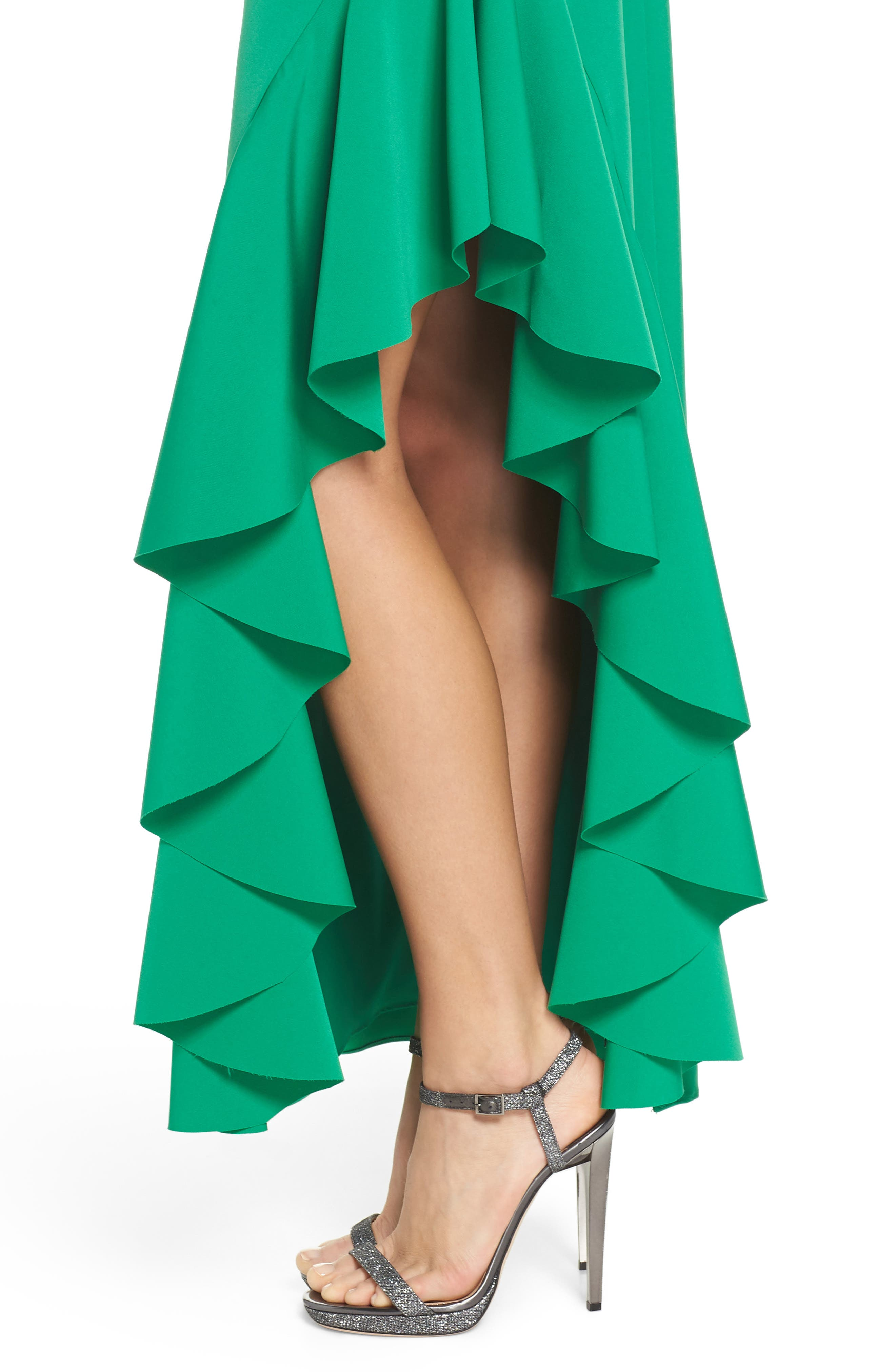 Ruffle Gown,                             Alternate thumbnail 4, color,                             Green