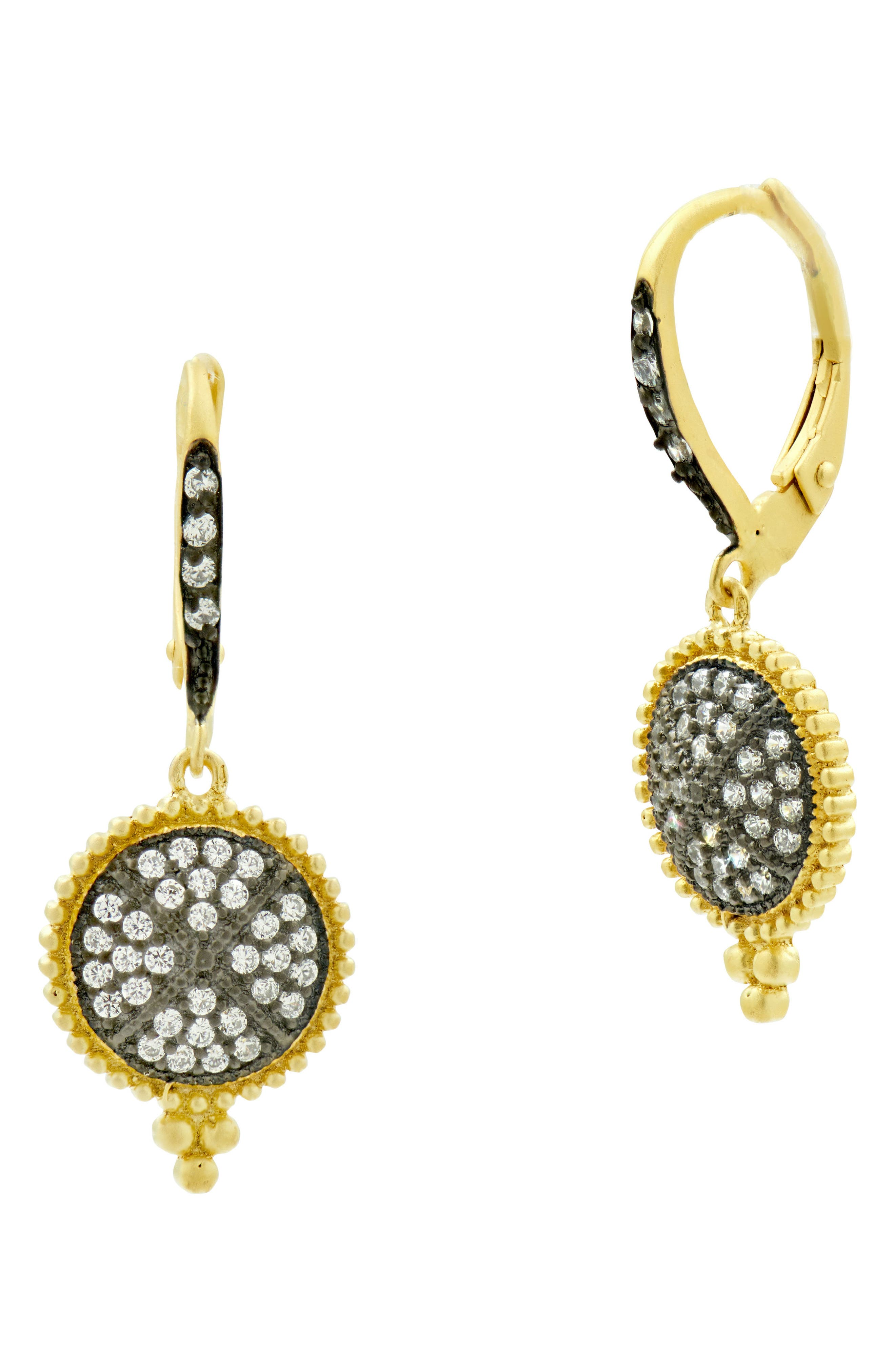 Pavé Disc Drop Earrings,                         Main,                         color, Gold/ Black