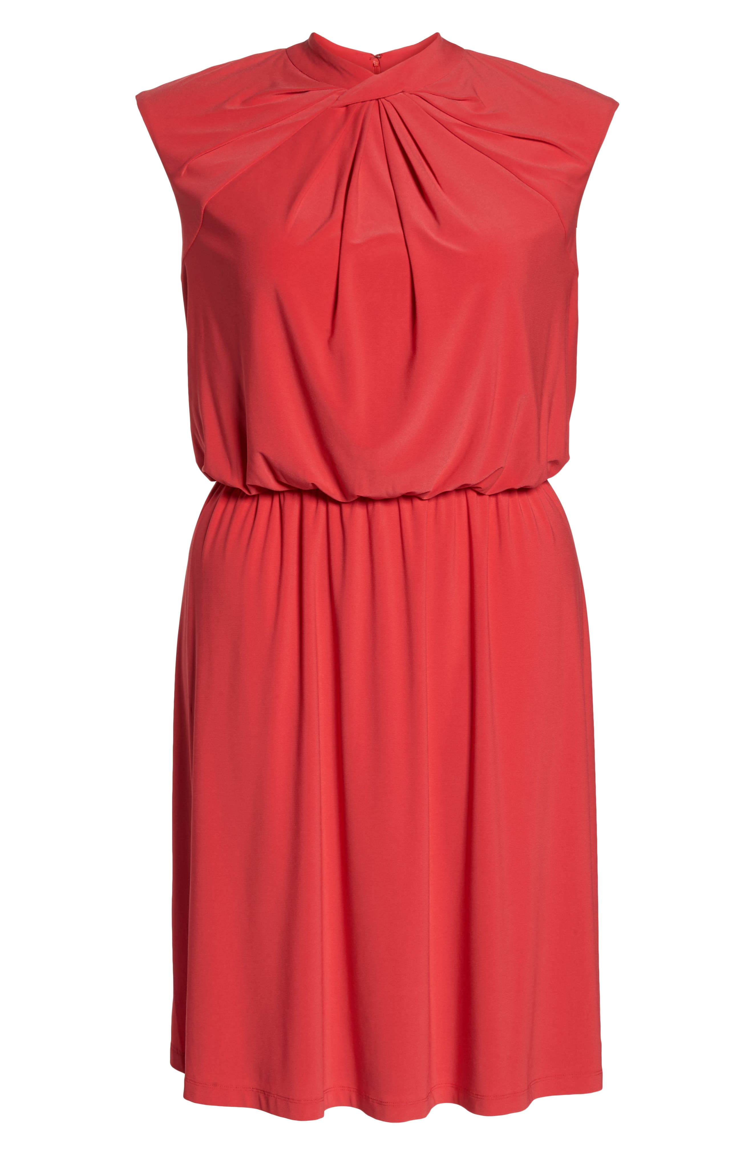 Twist Neck Jersey Blouson Dress,                             Alternate thumbnail 7, color,                             Geranium