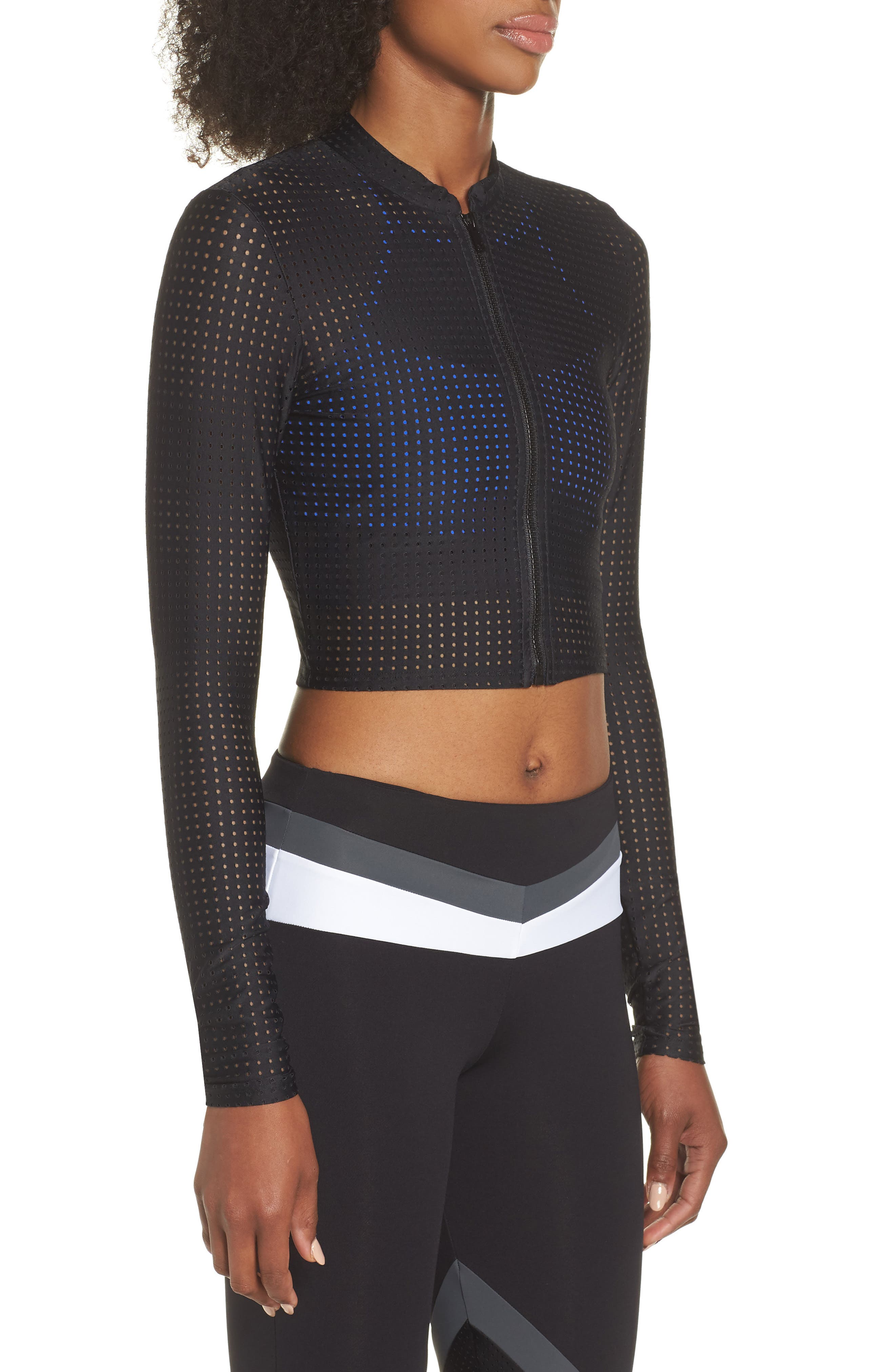 Perforated Crop Jacket,                             Alternate thumbnail 3, color,                             Black