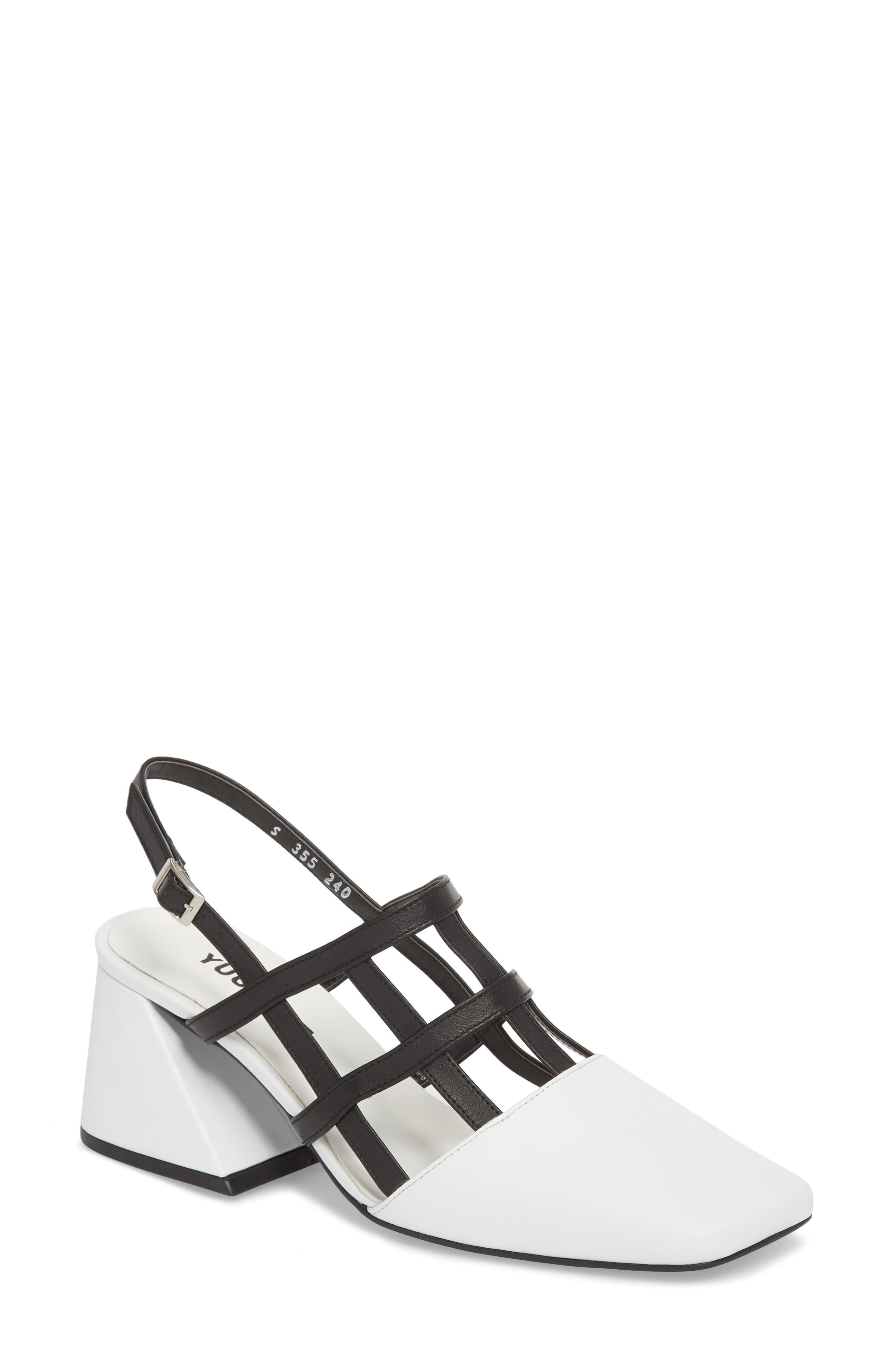 Caged Slingback Pump,                         Main,                         color, White/ Black