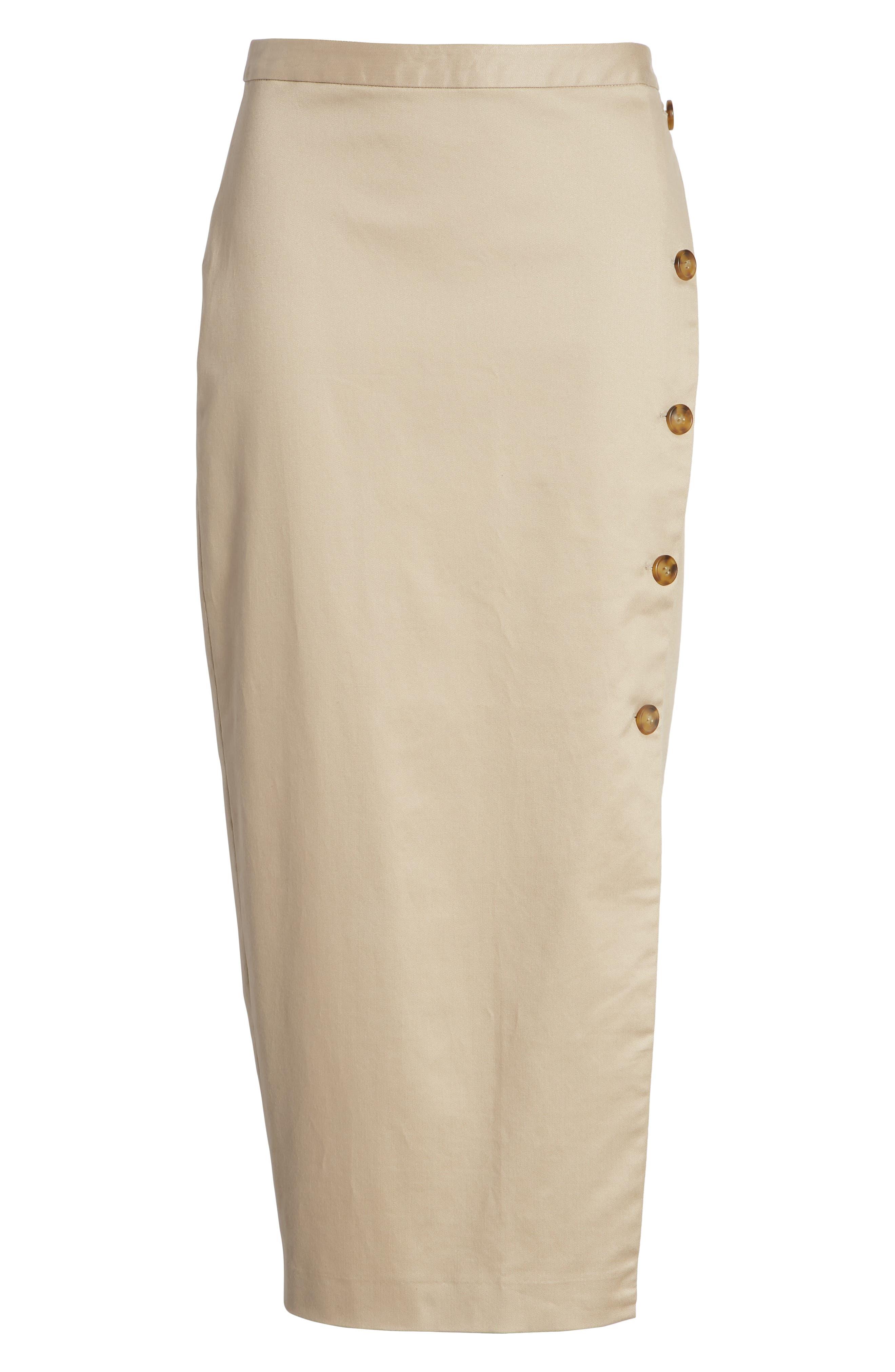Side Slit Cotton Blend Pencil Skirt,                             Alternate thumbnail 6, color,                             Tan
