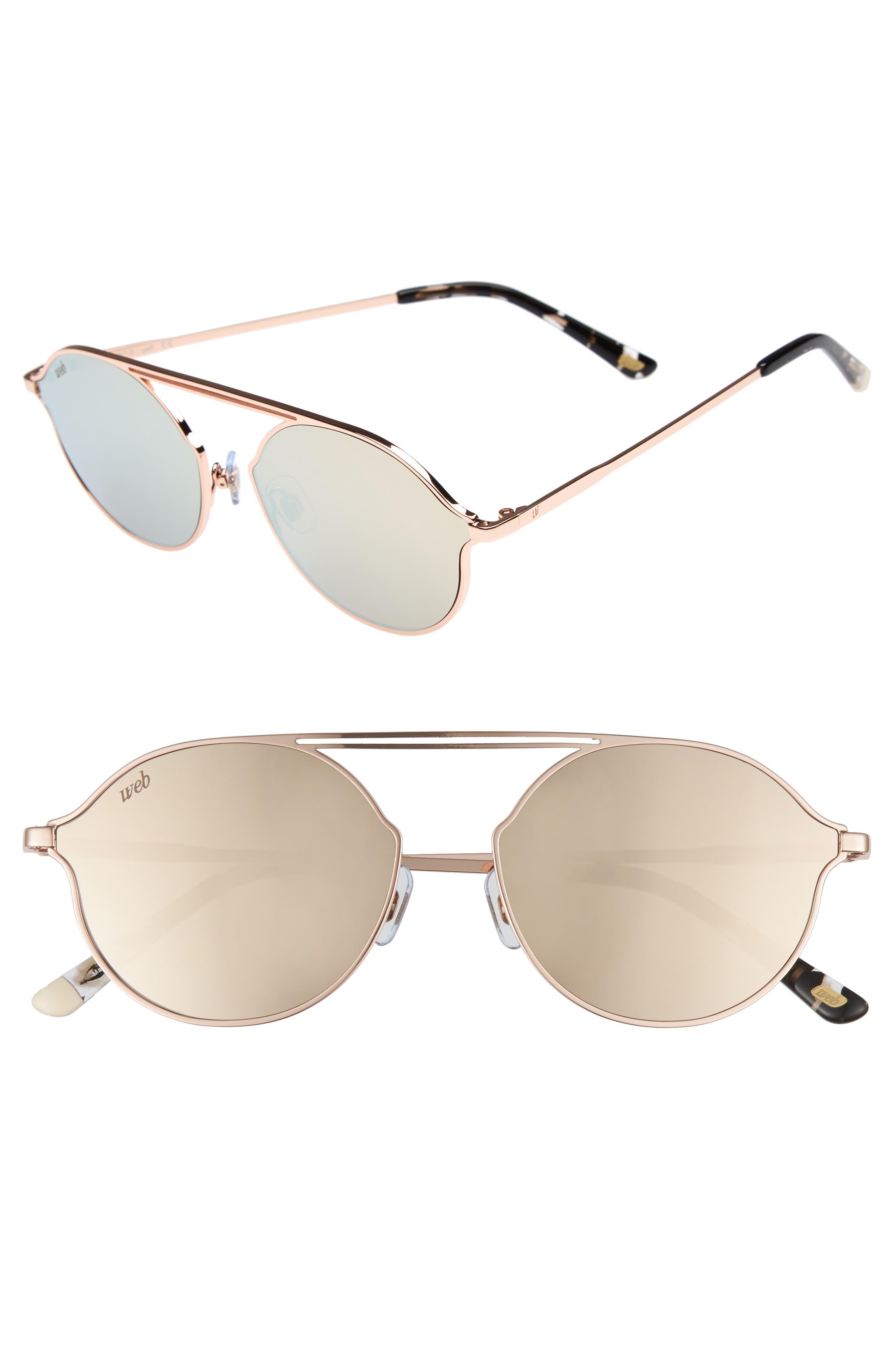 57mm Round Sunglasses,                             Main thumbnail 1, color,                             Light Bronze/ Brown Mirror