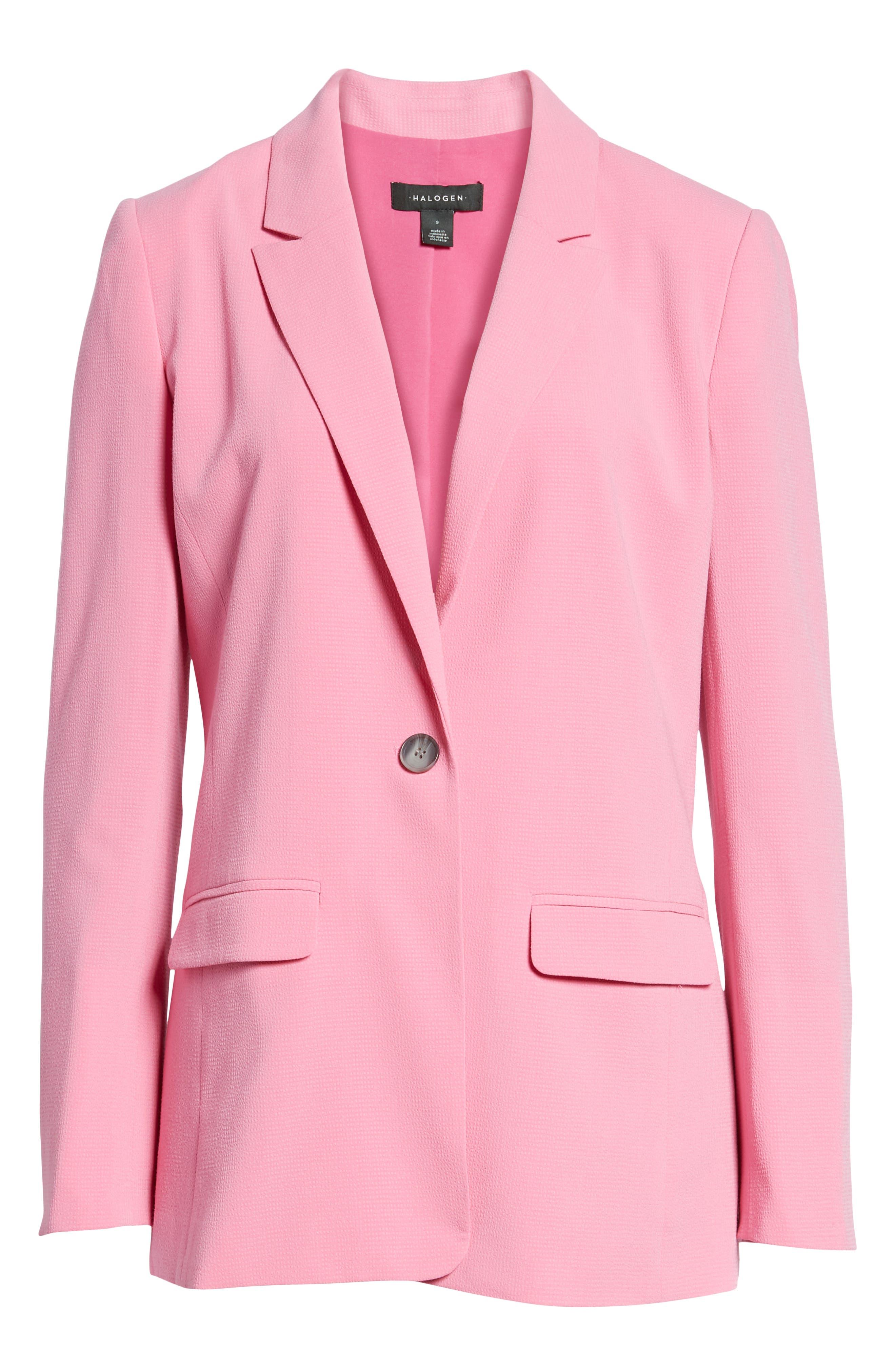 One Button Blazer,                             Alternate thumbnail 7, color,                             Pink Trillium