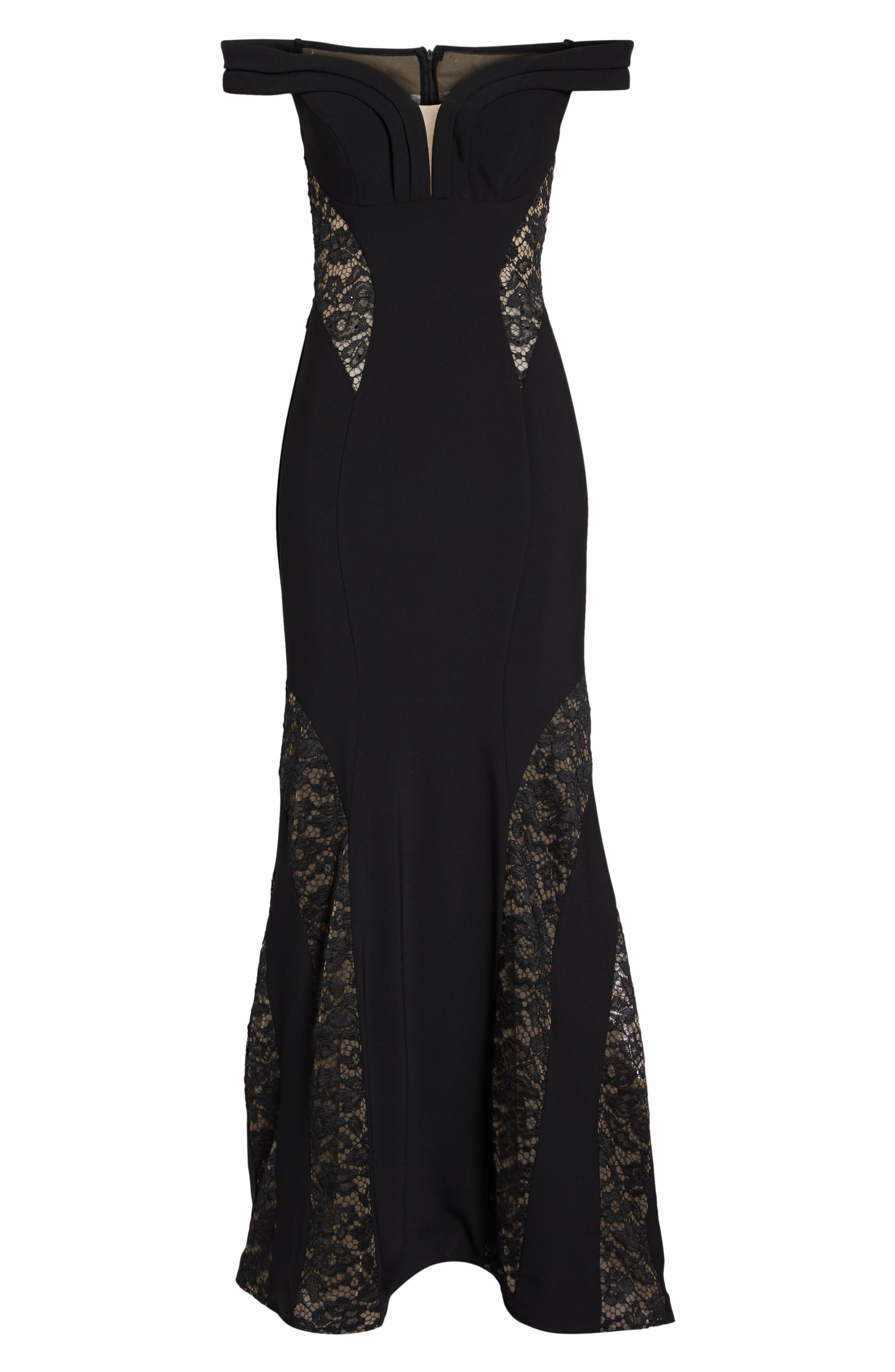 Off the Shoulder Lace Inset Gown,                             Alternate thumbnail 7, color,                             Black