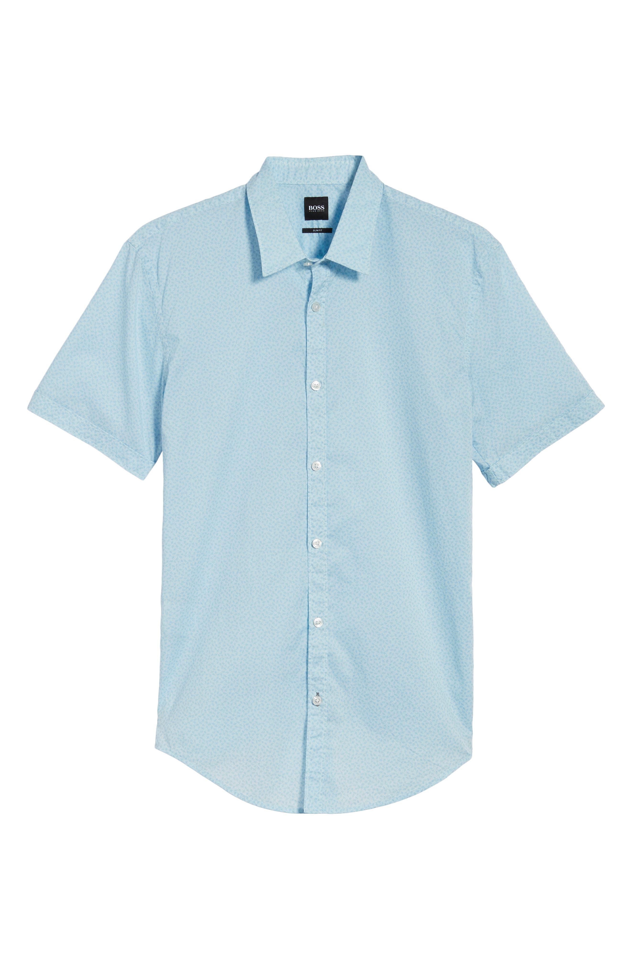 Ronn Slim Fit Flower Print Sport Shirt,                             Alternate thumbnail 6, color,                             Blue