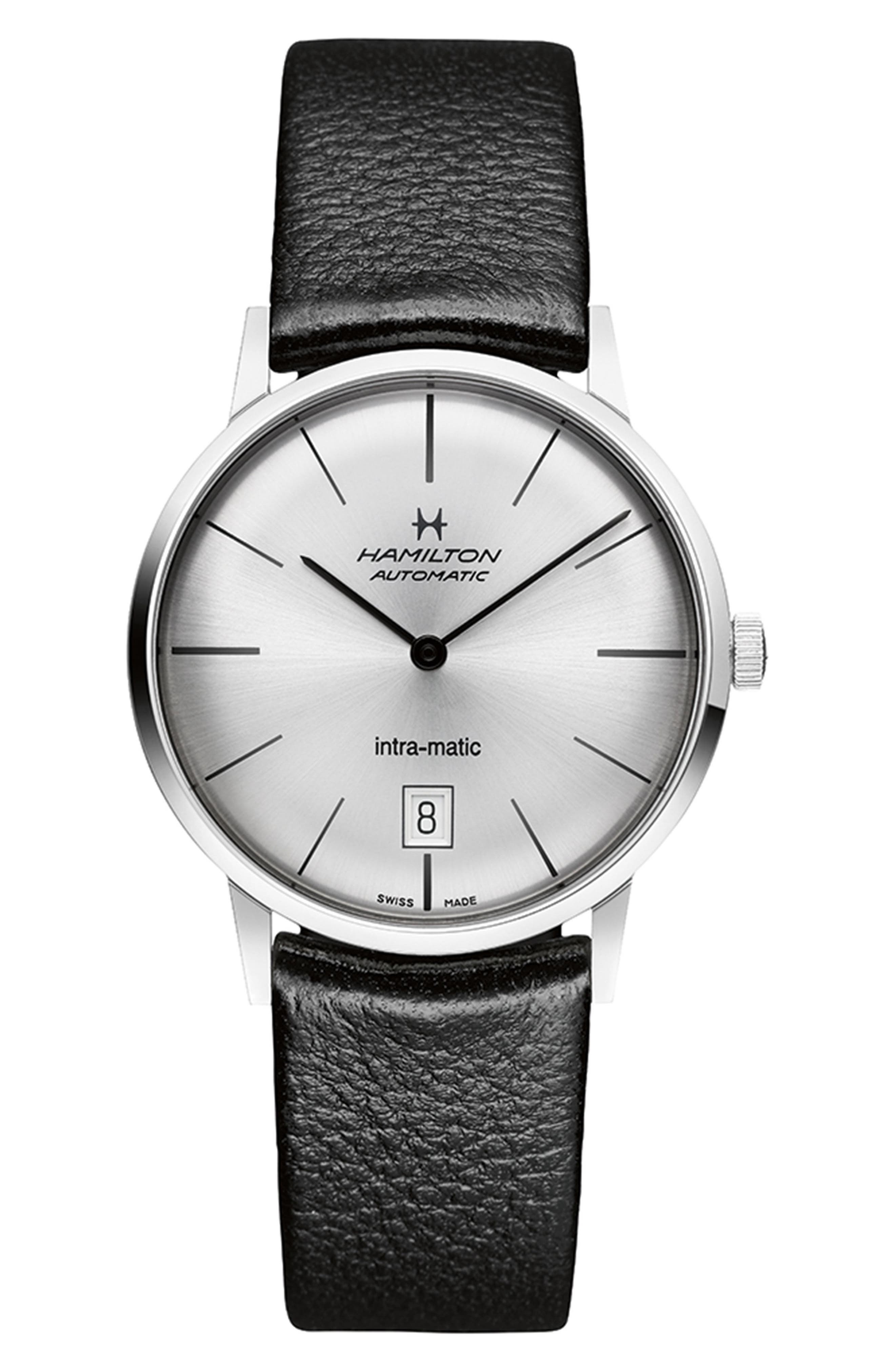 Intra-matic Automatic Leather Strap Watch, 38mm,                         Main,                         color, Black/ Silver