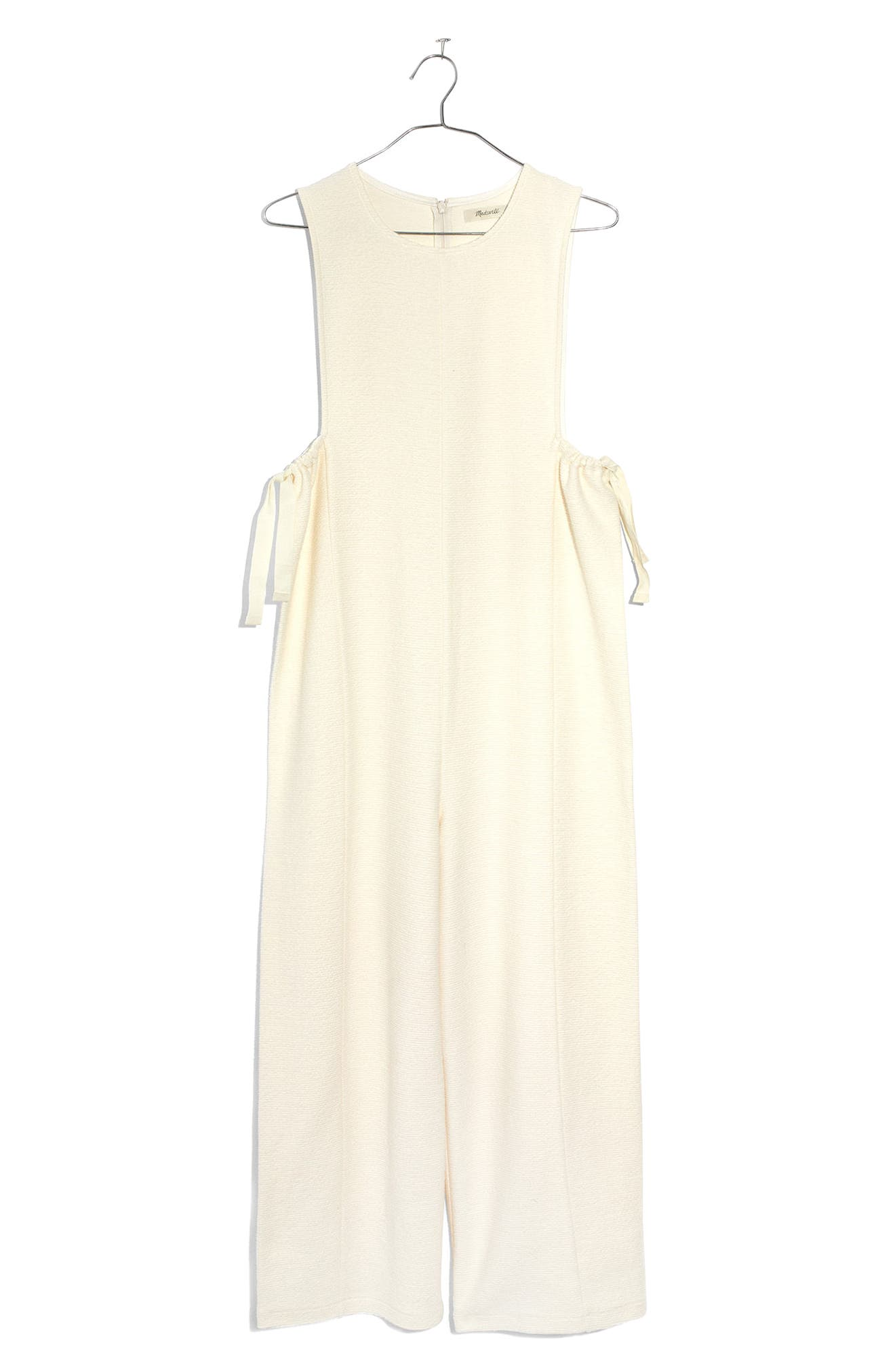 Texture & Thread Side Tie Jumpsuit,                             Main thumbnail 1, color,                             Bright Ivory
