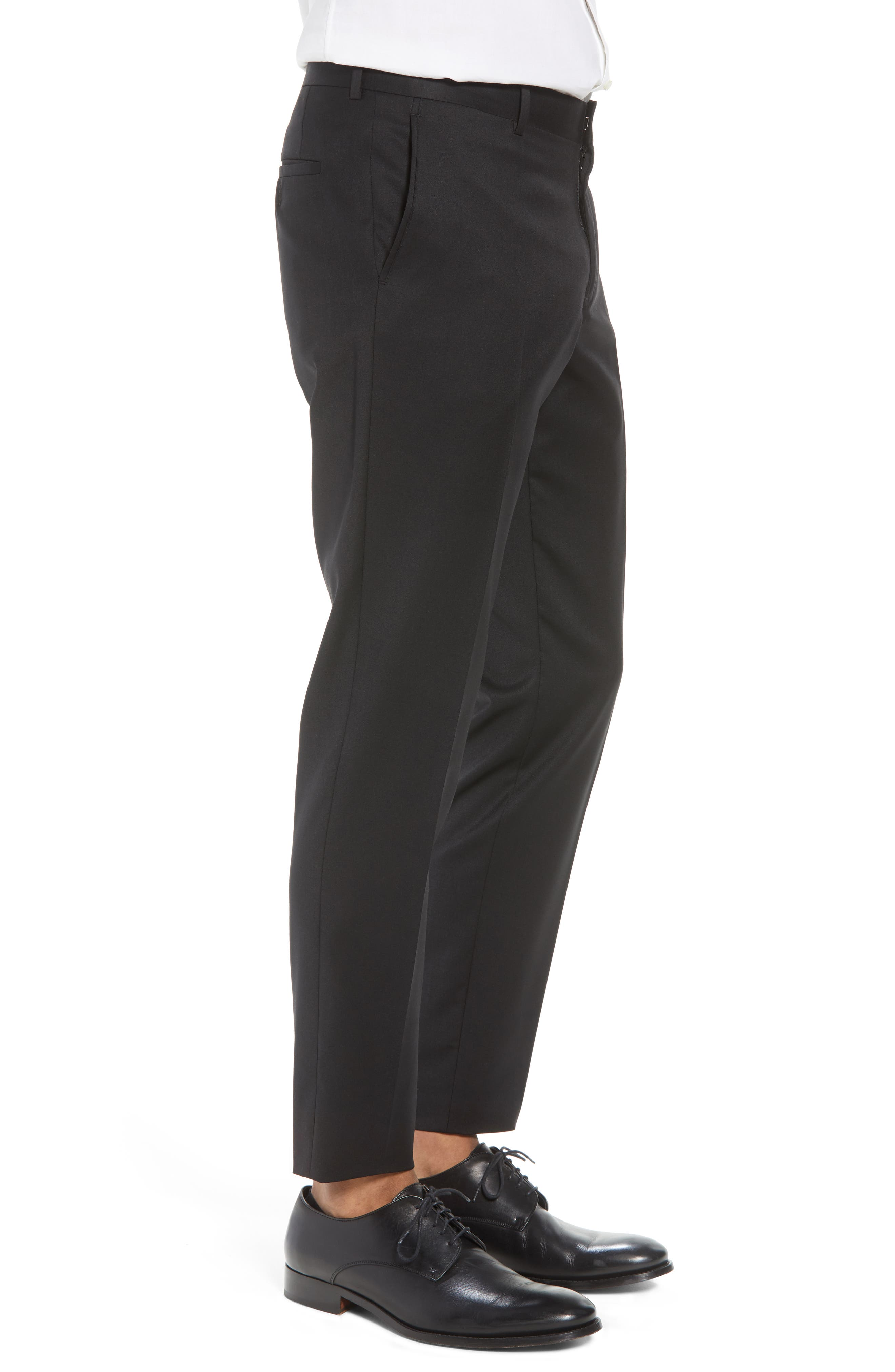 Flat Front Tech-Smart Extra Trim Trousers,                             Alternate thumbnail 6, color,                             Black