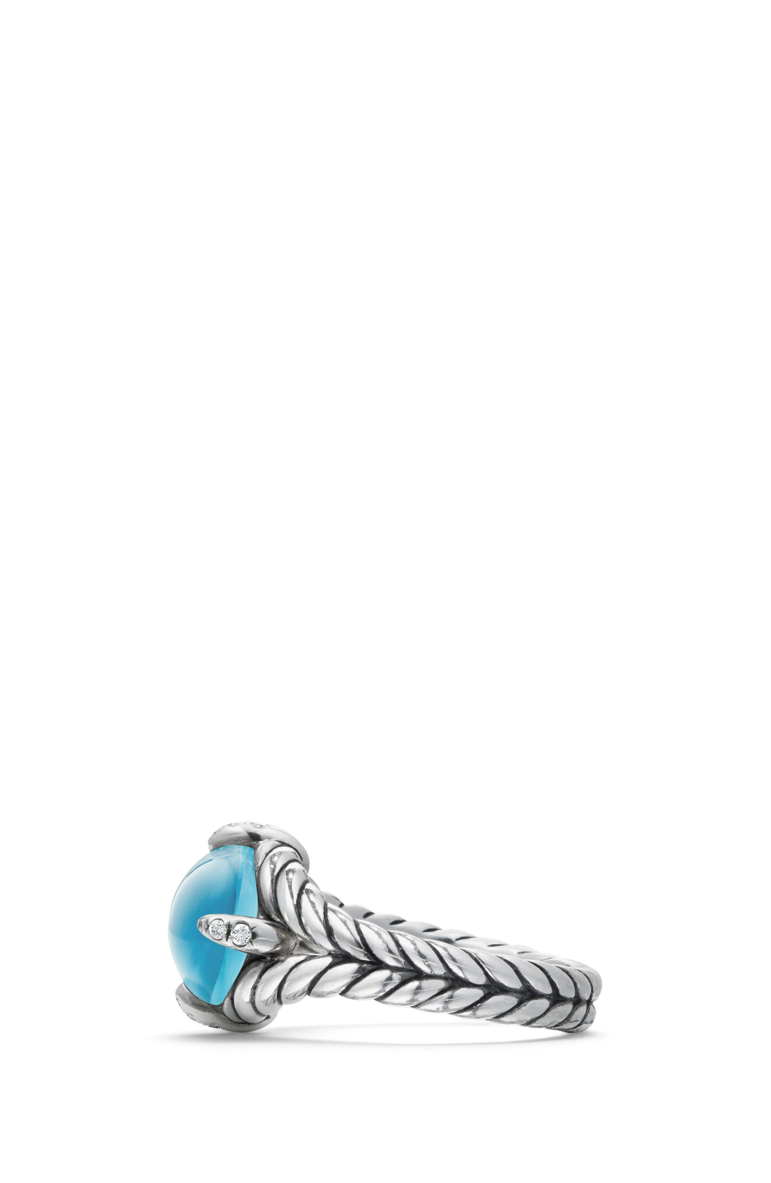 Chatelaine<sup>®</sup> Single Gemstone & Diamond Ring,                             Alternate thumbnail 2, color,                             Silver/ Diamond/ Blue Topaz