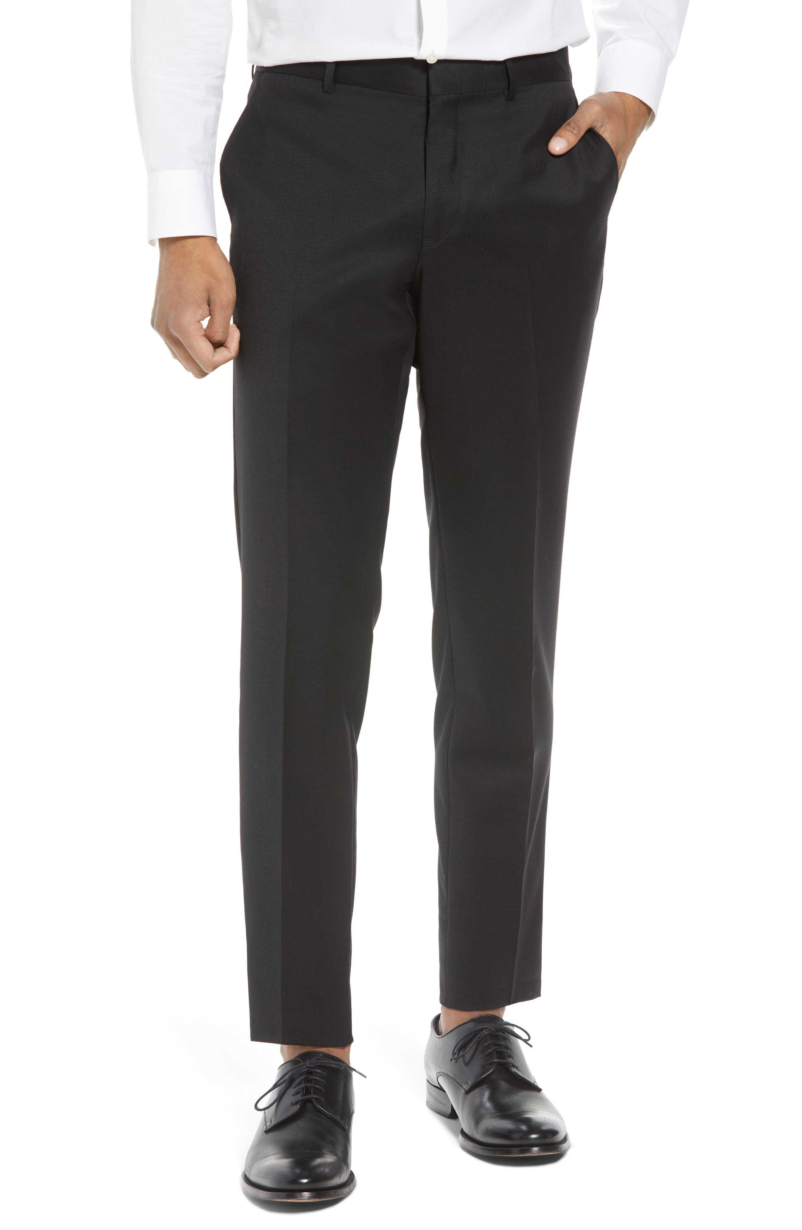 Flat Front Tech-Smart Extra Trim Trousers,                         Main,                         color, Black