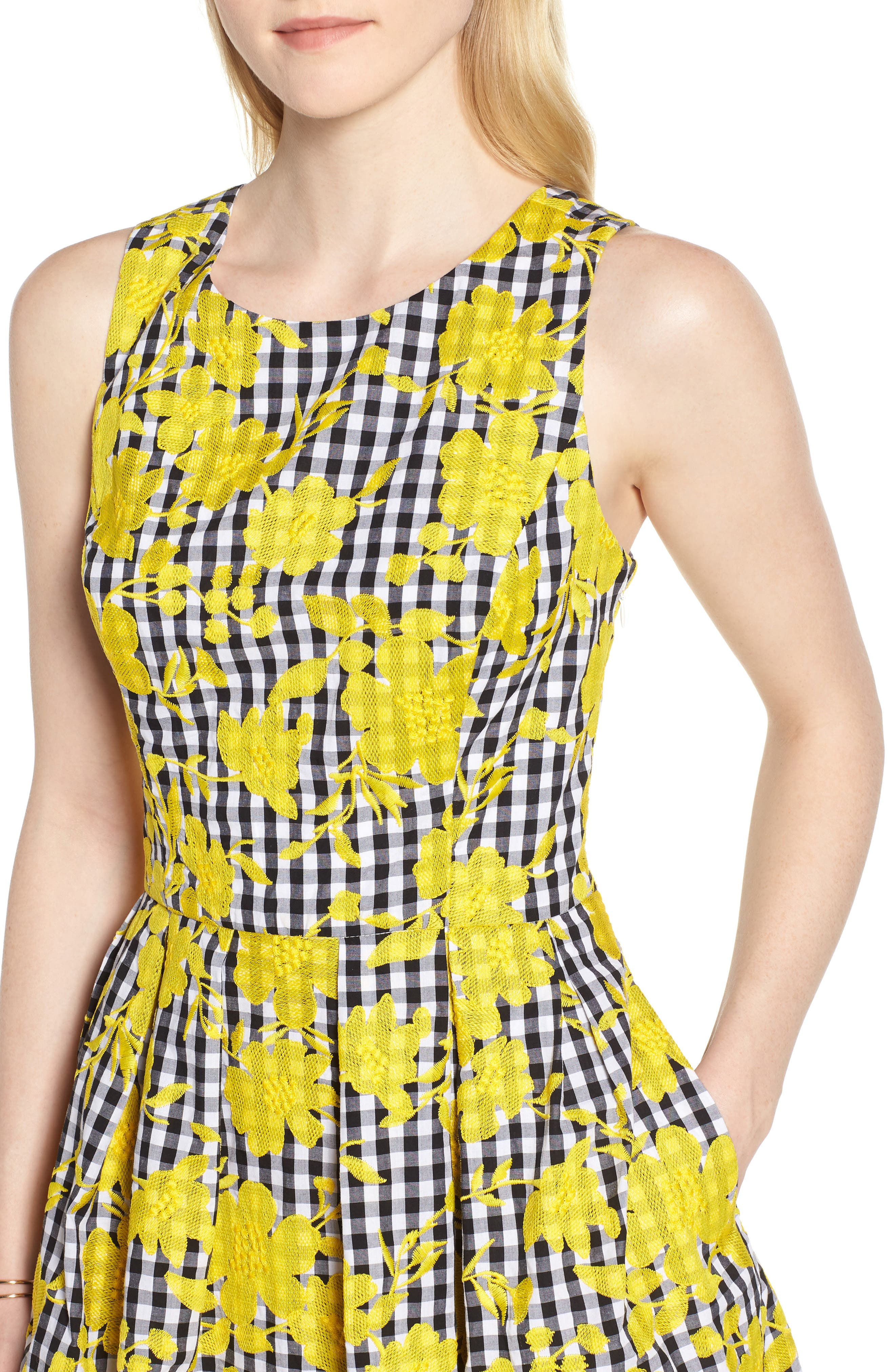 Embroidered Cross Back Cotton Gingham Dress,                             Alternate thumbnail 4, color,                             Yellow- Black Gingham