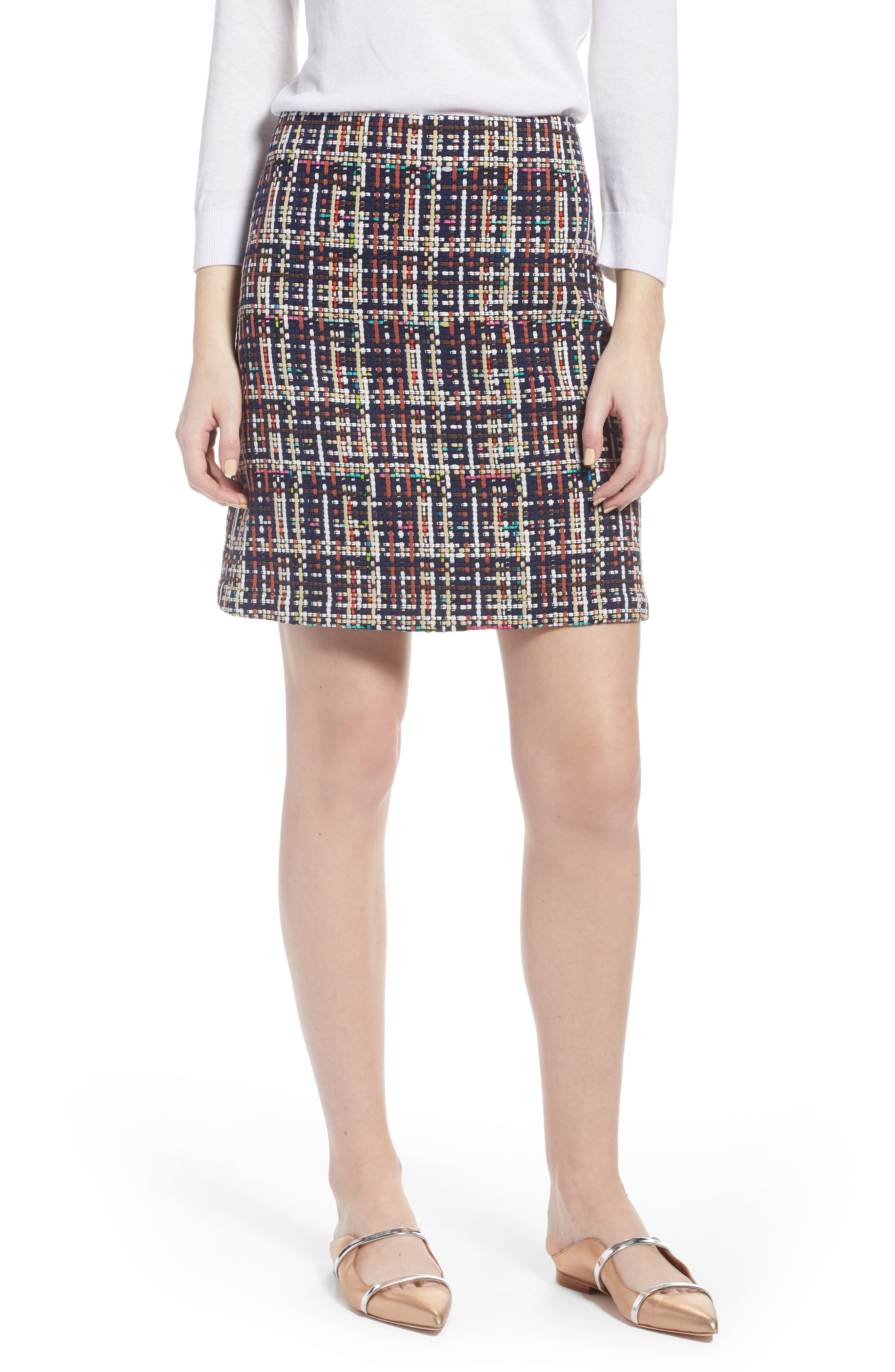 Tweed Mini Skirt,                             Main thumbnail 1, color,                             Navy Multi Tweed