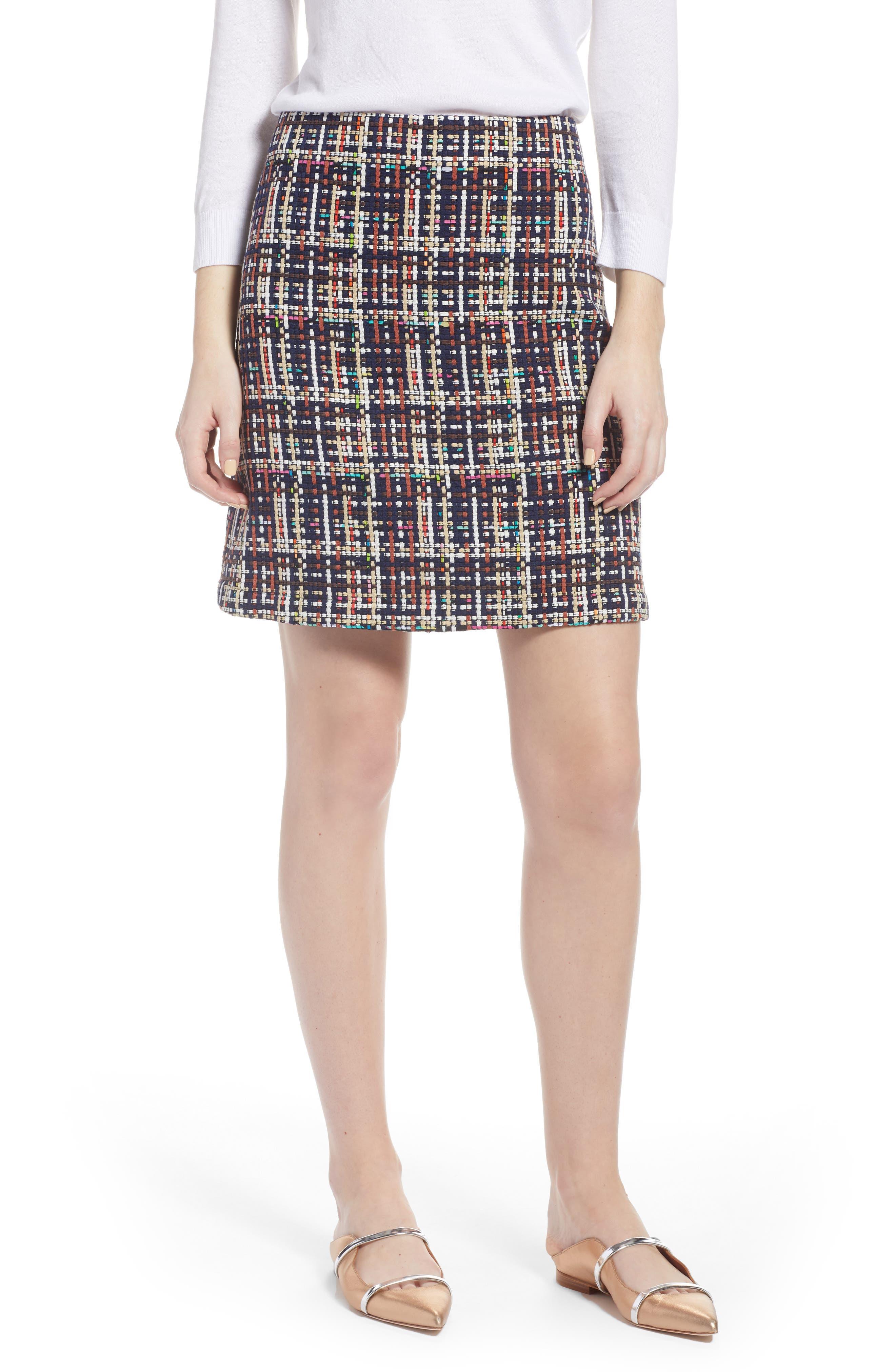 Tweed Mini Skirt,                         Main,                         color, Navy Multi Tweed