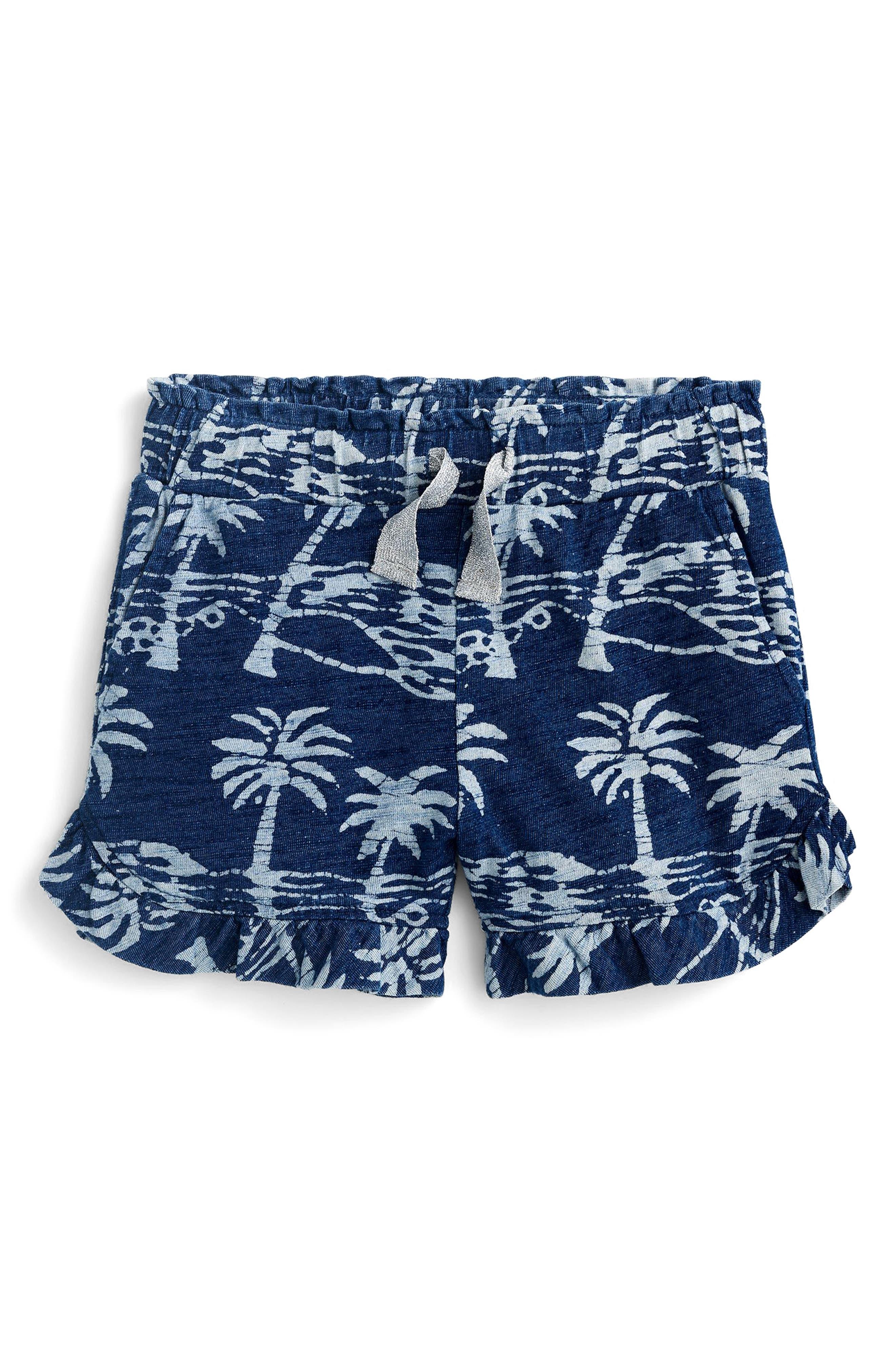 Paulette Palm Print Ruffle Shorts,                             Main thumbnail 1, color,                             Indigo