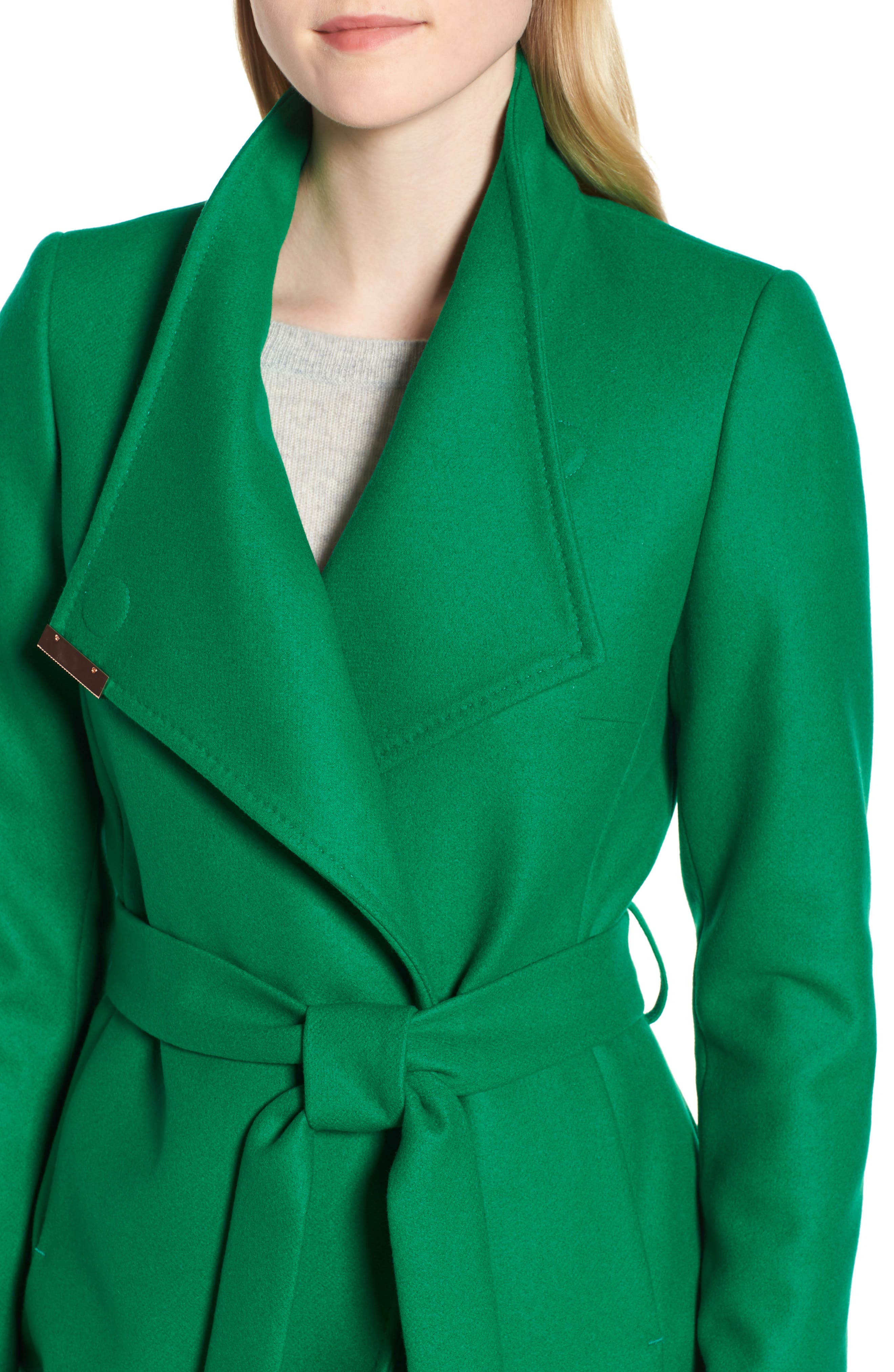 Wool Blend Long Wrap Coat,                             Alternate thumbnail 4, color,                             Bright Green
