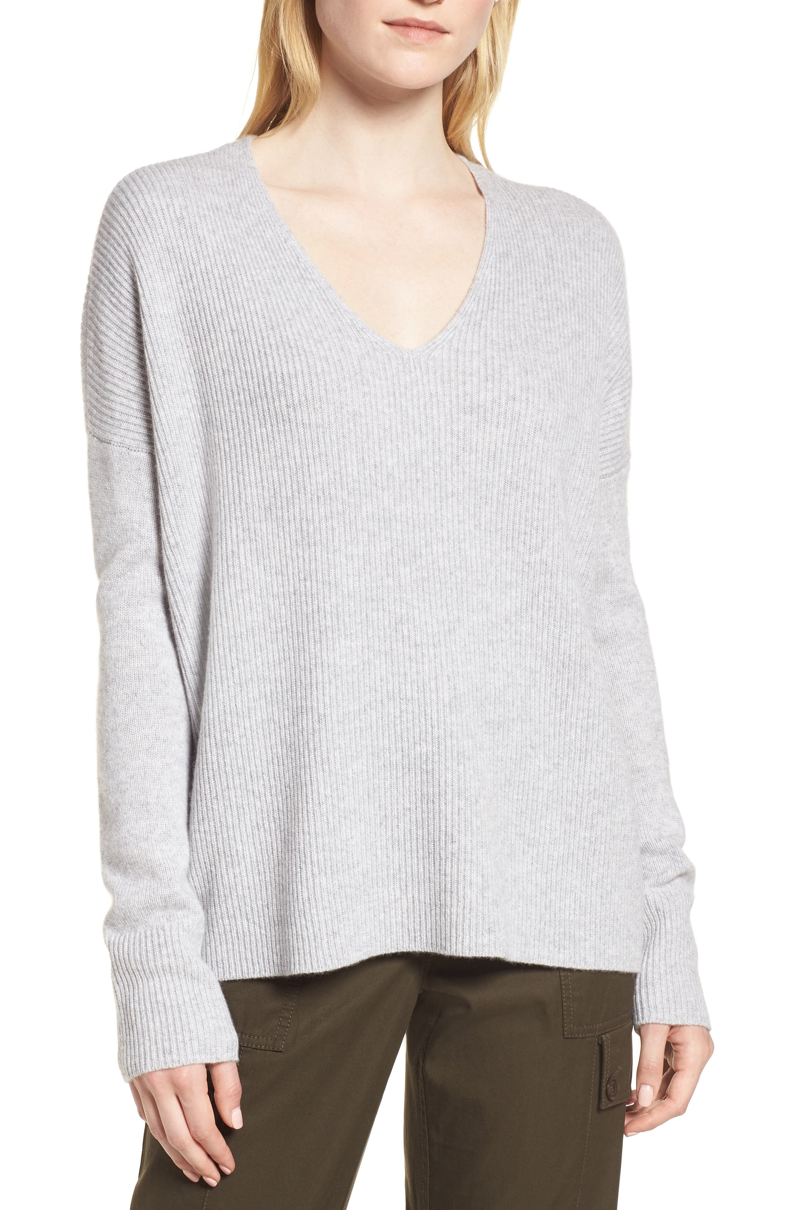 Cashmere Soft Ribbed Pullover Sweater,                             Main thumbnail 1, color,                             Grey Clay Heather