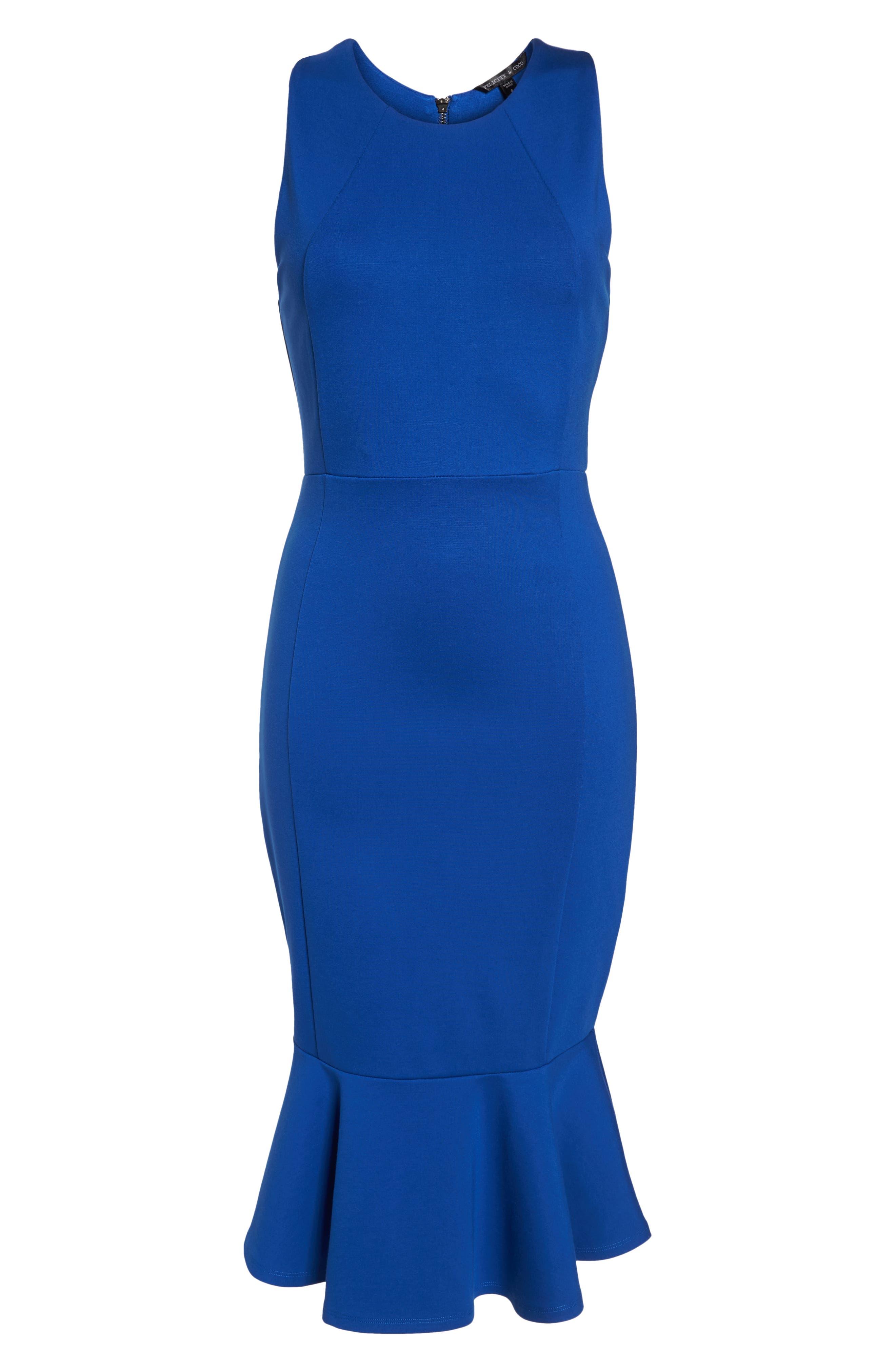 Monrow Flutter Hem Midi Dress,                             Alternate thumbnail 7, color,                             Cobalt