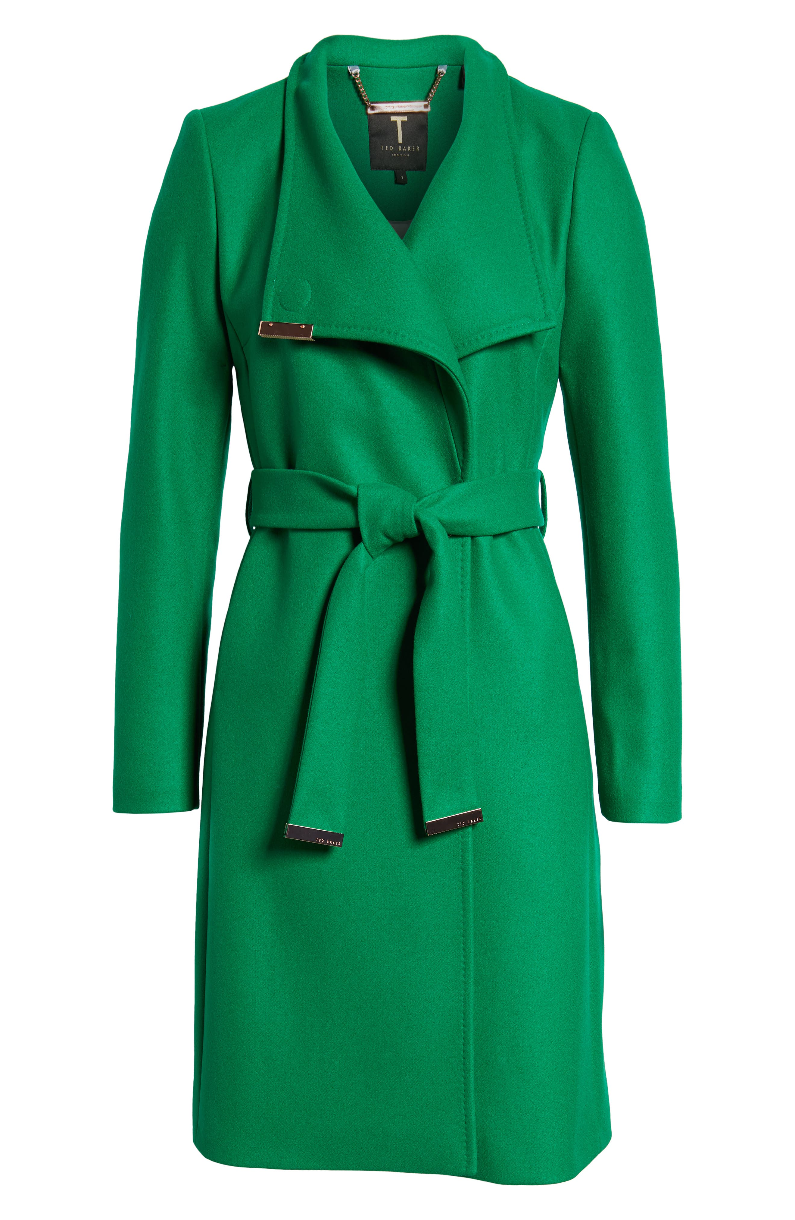 Wool Blend Long Wrap Coat,                             Alternate thumbnail 7, color,                             Bright Green