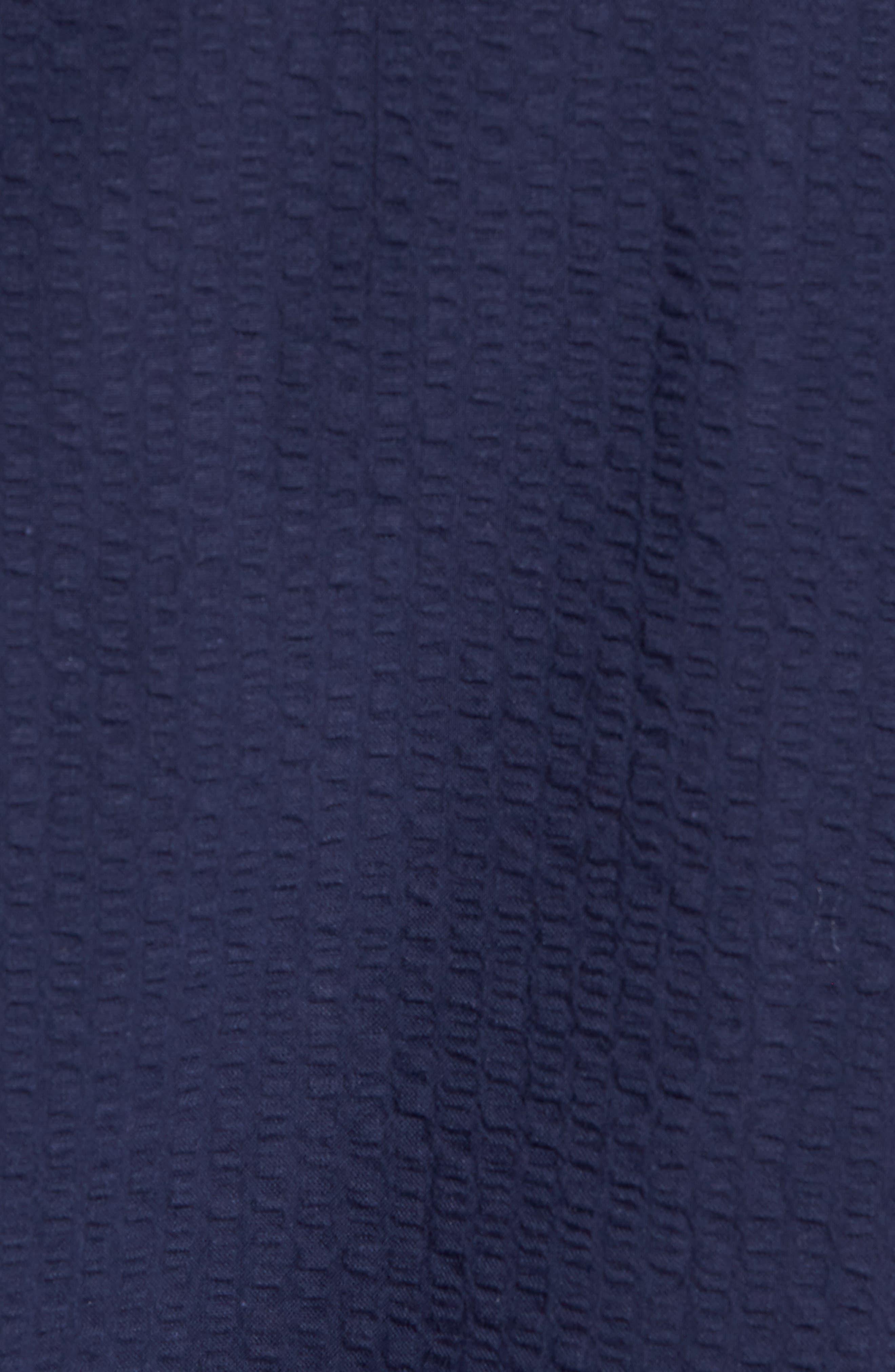 Trim Fit Seersucker Sport Shirt,                             Alternate thumbnail 5, color,                             Navy Iris Seersucker