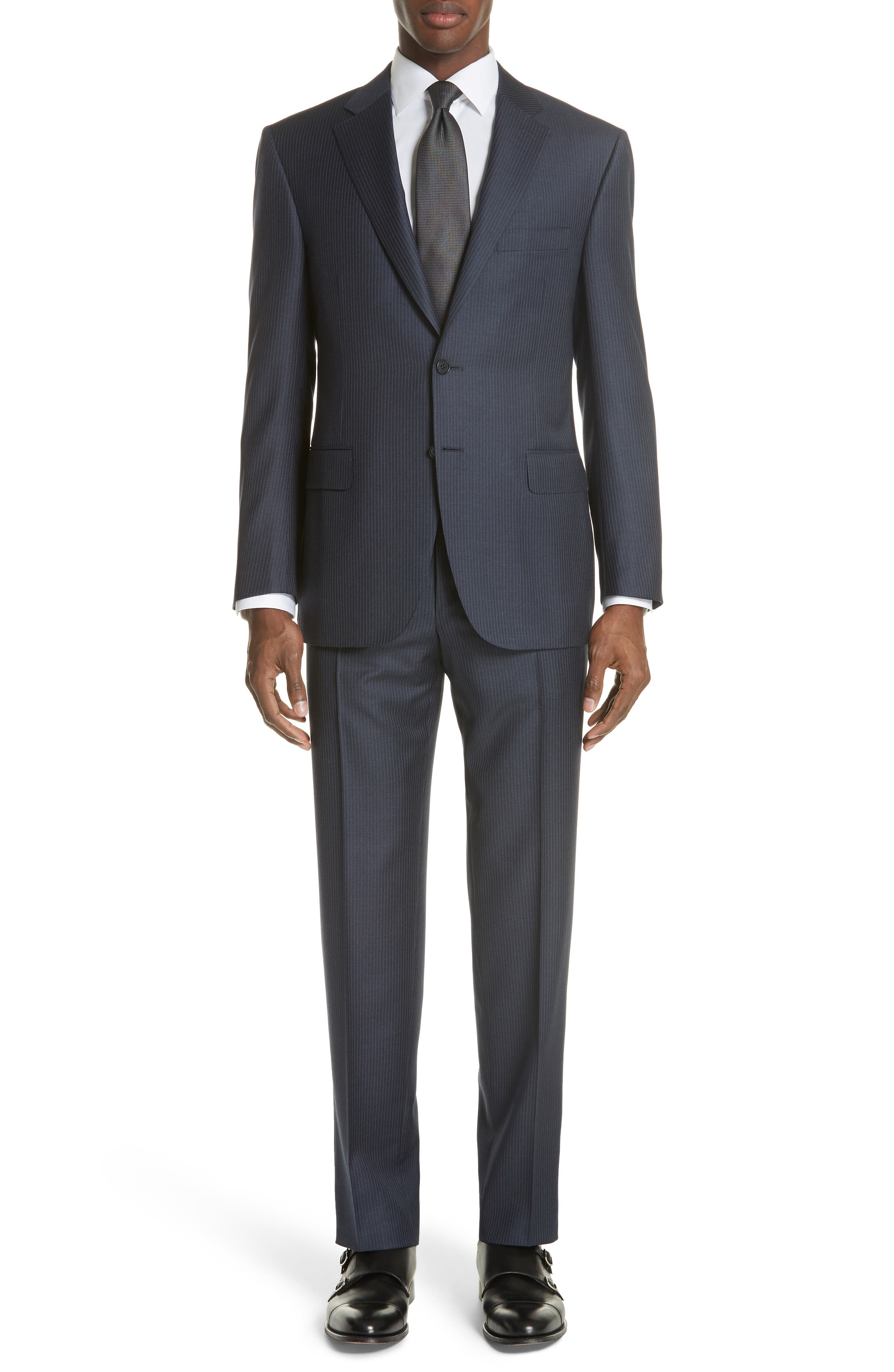 Classic Fit Pinstripe Wool Suit,                             Main thumbnail 1, color,                             Navy