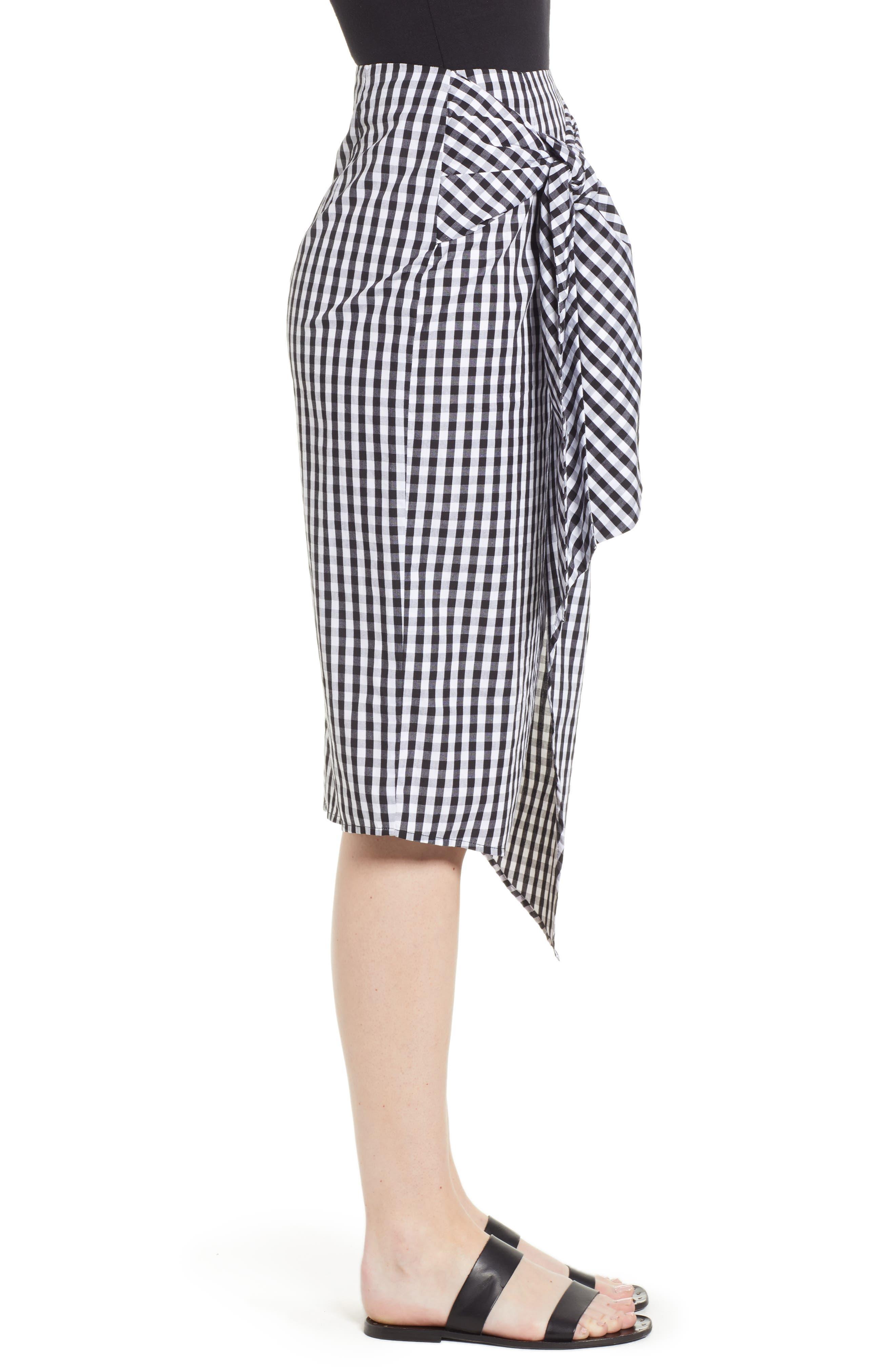 Gingham Tie Waist Skirt,                             Alternate thumbnail 3, color,                             Black/ White Gingham