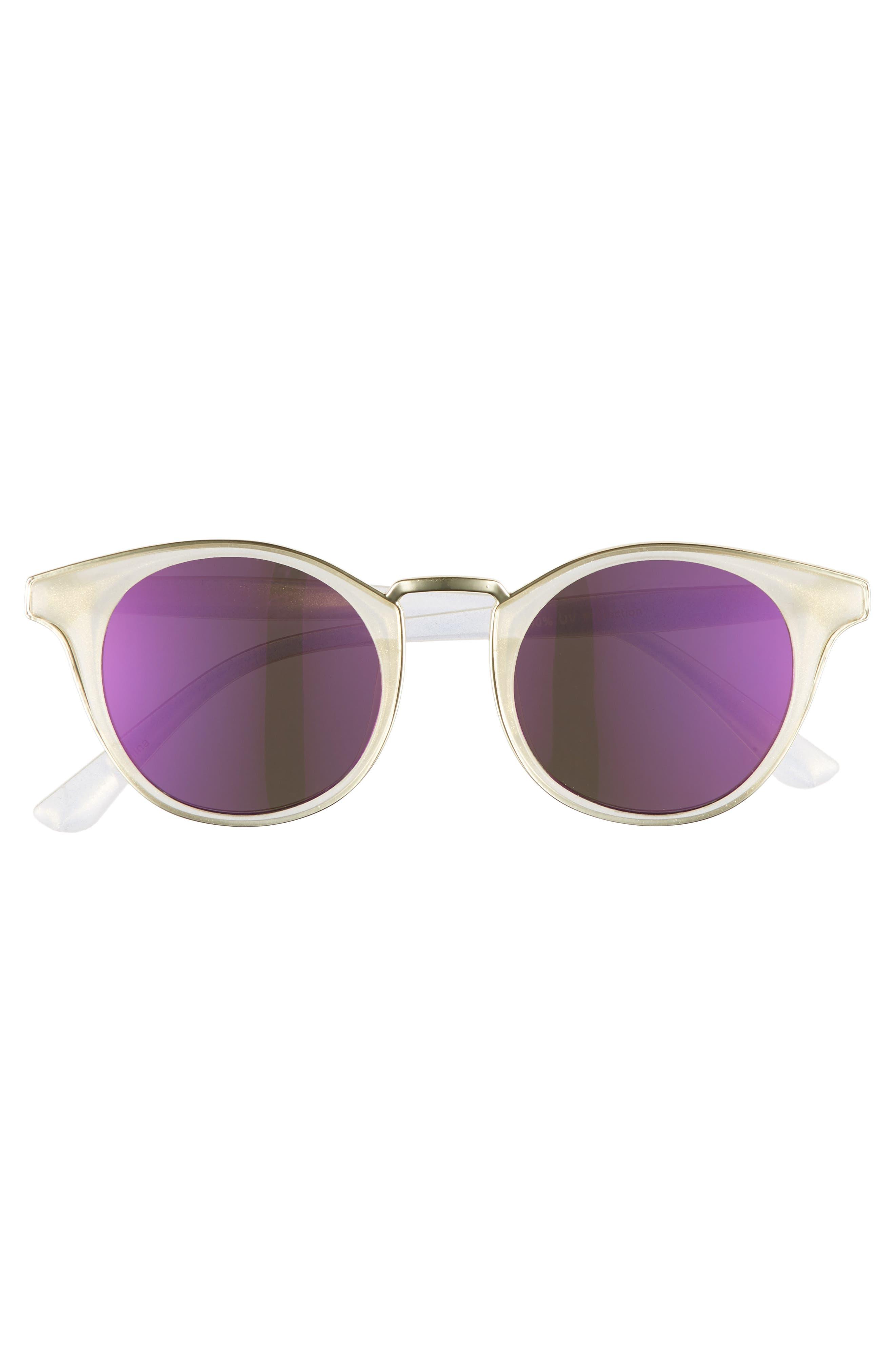 47mm Metal Trim Round Sunglasses,                             Alternate thumbnail 3, color,                             Clear/ Blue