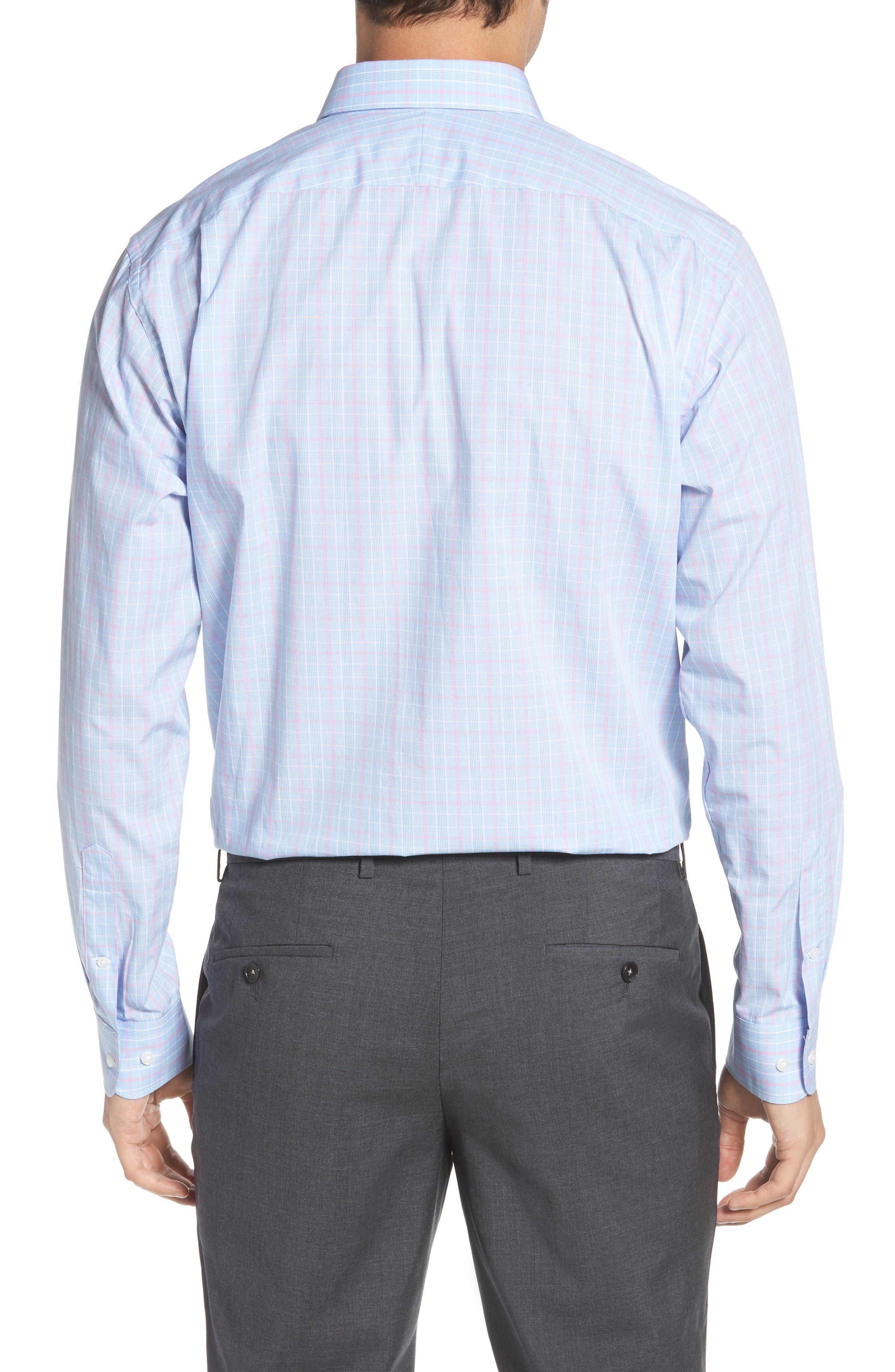 Traditional Fit Plaid Dress Shirt,                             Alternate thumbnail 3, color,                             Blue Hydrangea