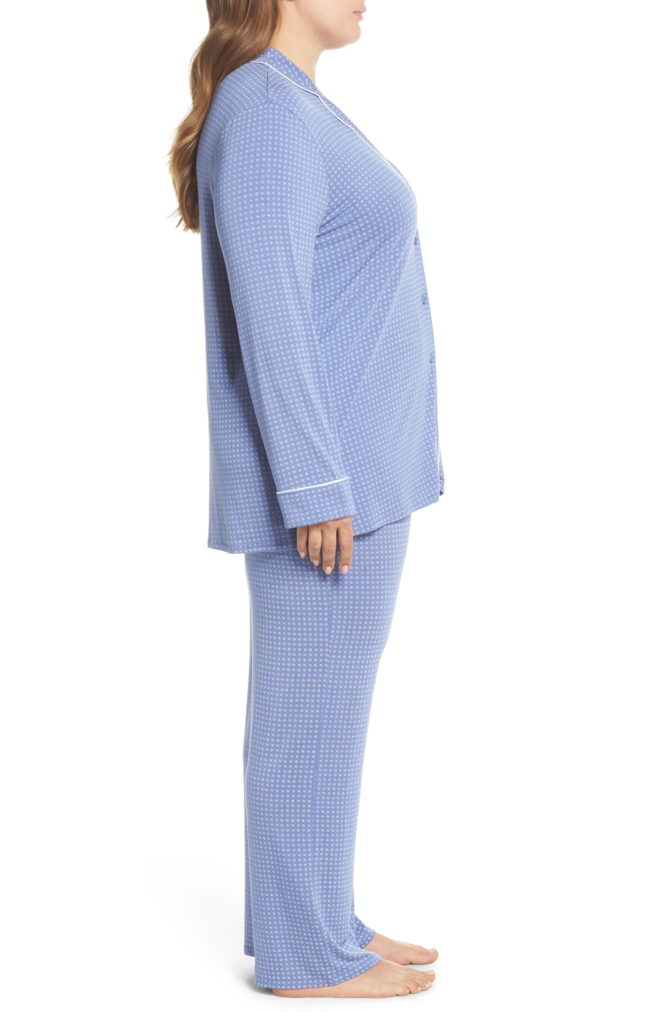 'Moonlight' Pajamas,                             Alternate thumbnail 3, color,                             Blue Denim Geo