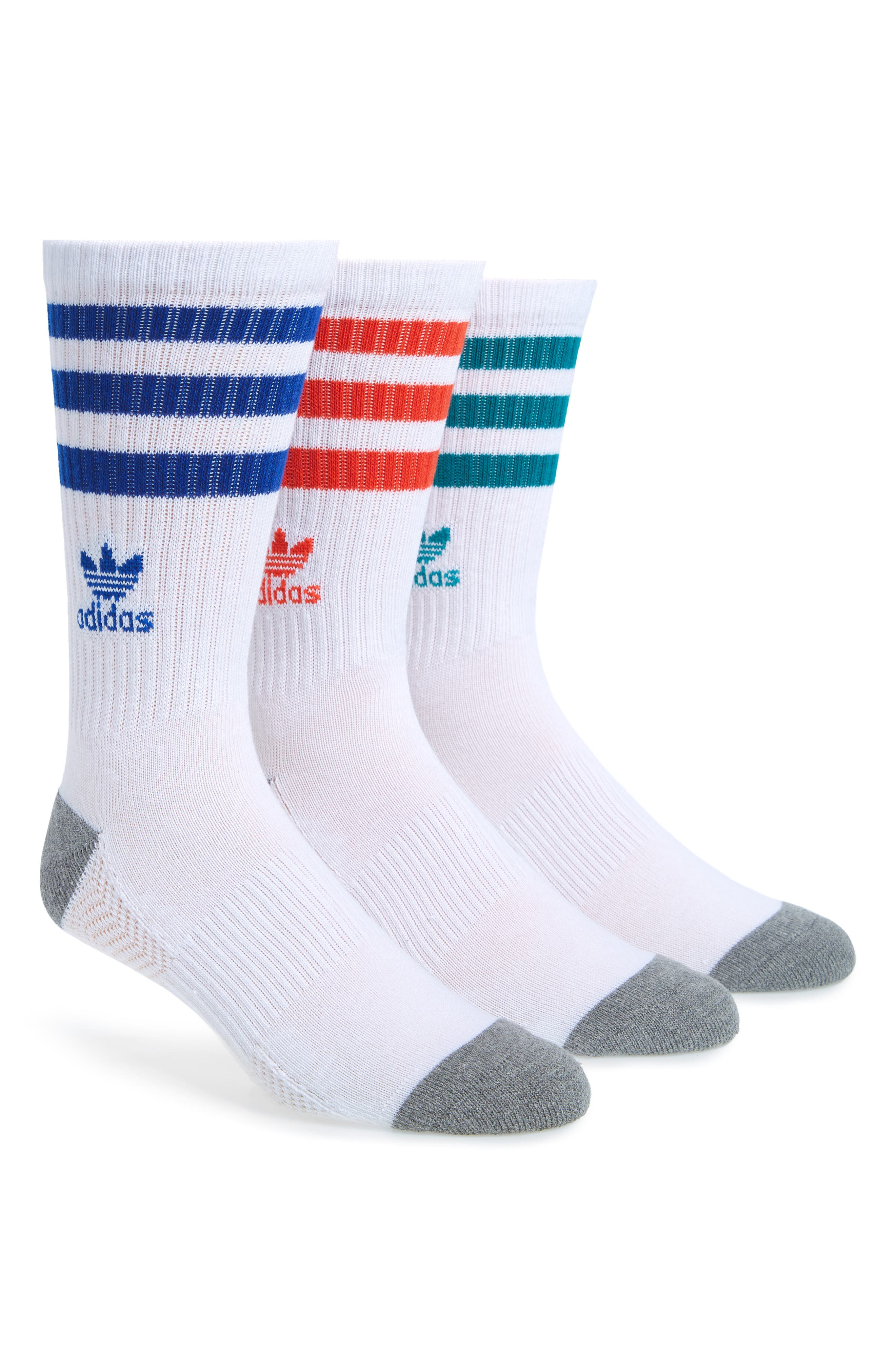 Roller Assorted 3-Pack Crew Socks,                             Main thumbnail 1, color,                             White/ Royal/ Red/ Green