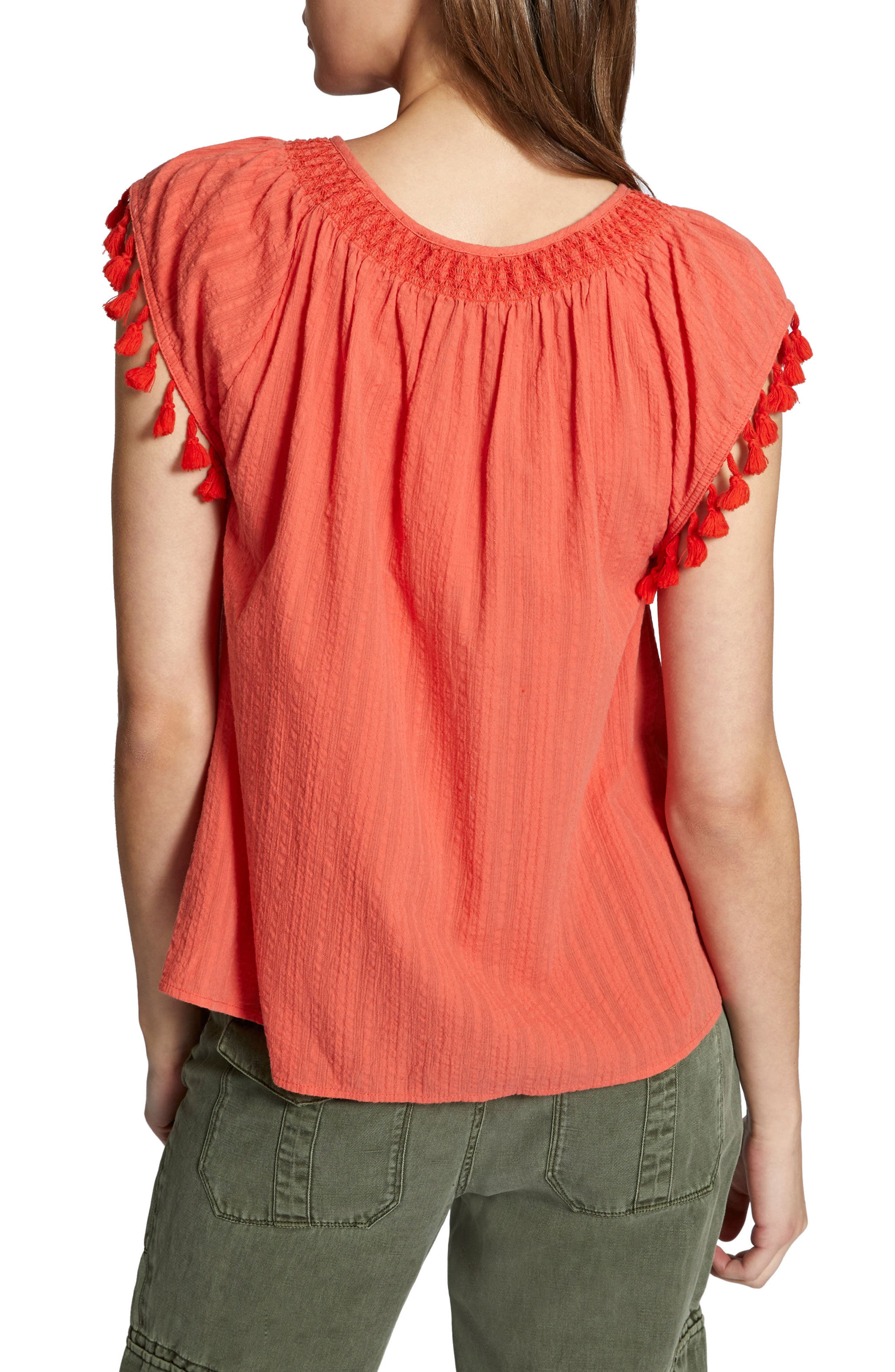 Gobi Tassel Top,                             Alternate thumbnail 2, color,                             Chili