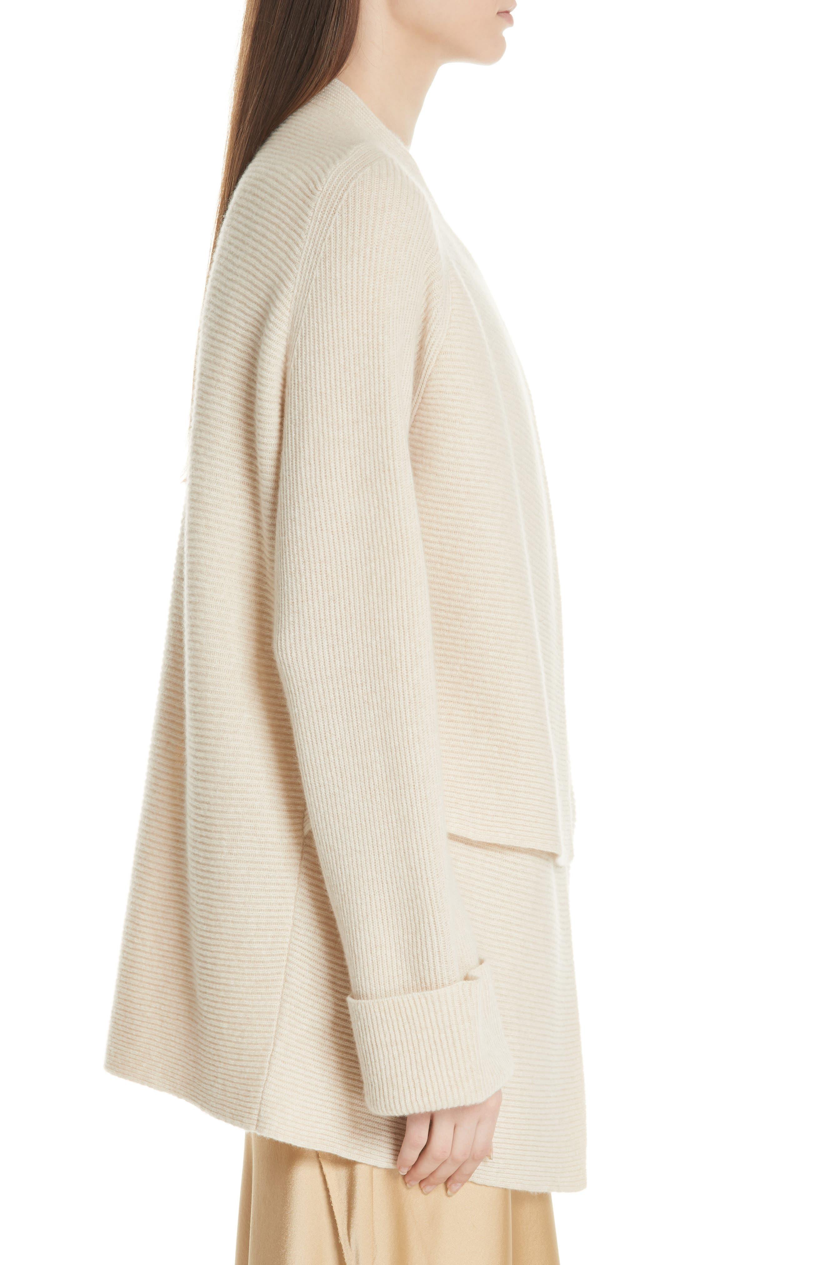 Drape Front Wool & Cashmere Cardigan,                             Alternate thumbnail 6, color,                             Sand