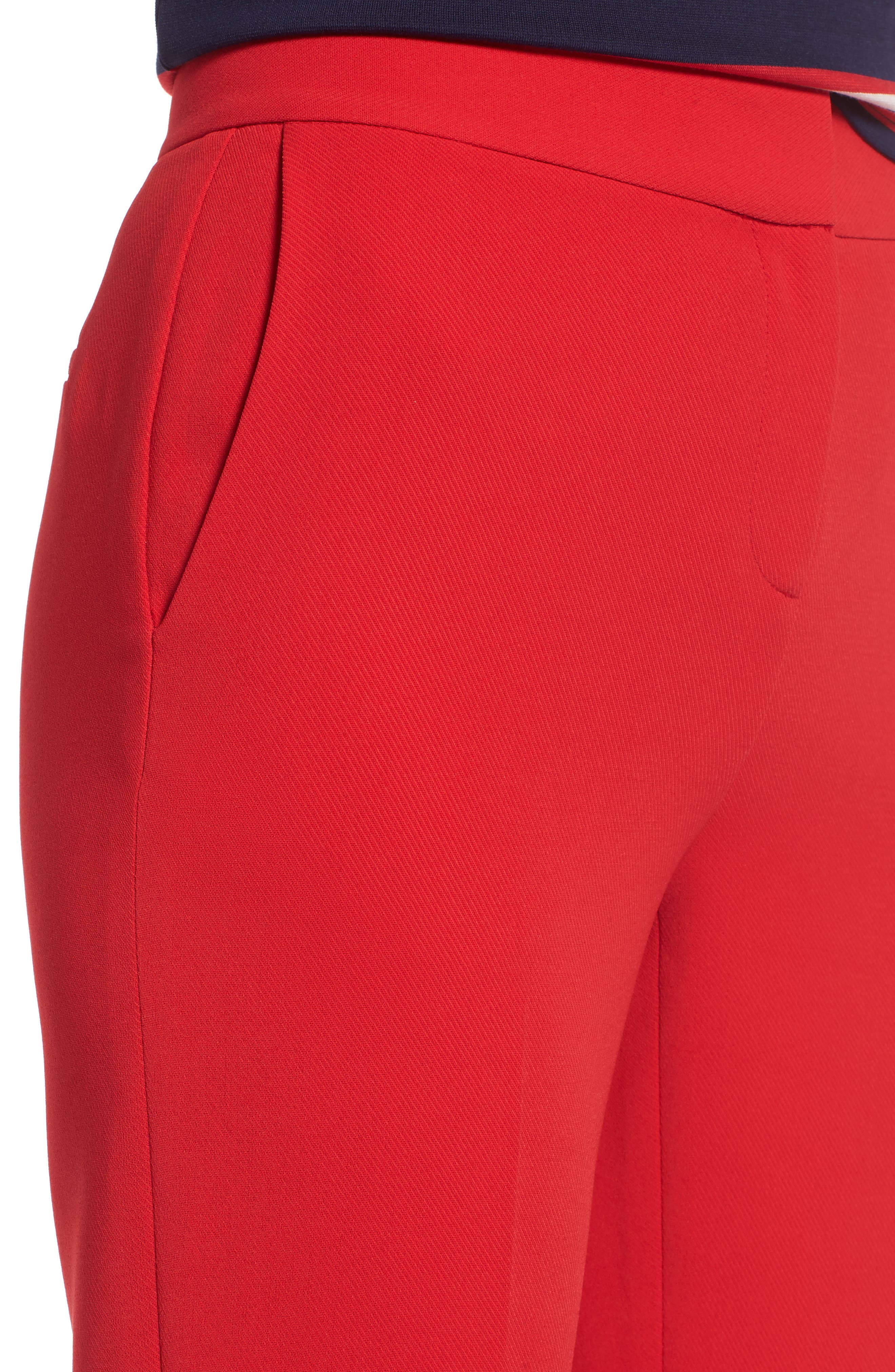 High Waist Straight Pants,                             Alternate thumbnail 4, color,                             Red Chinoise