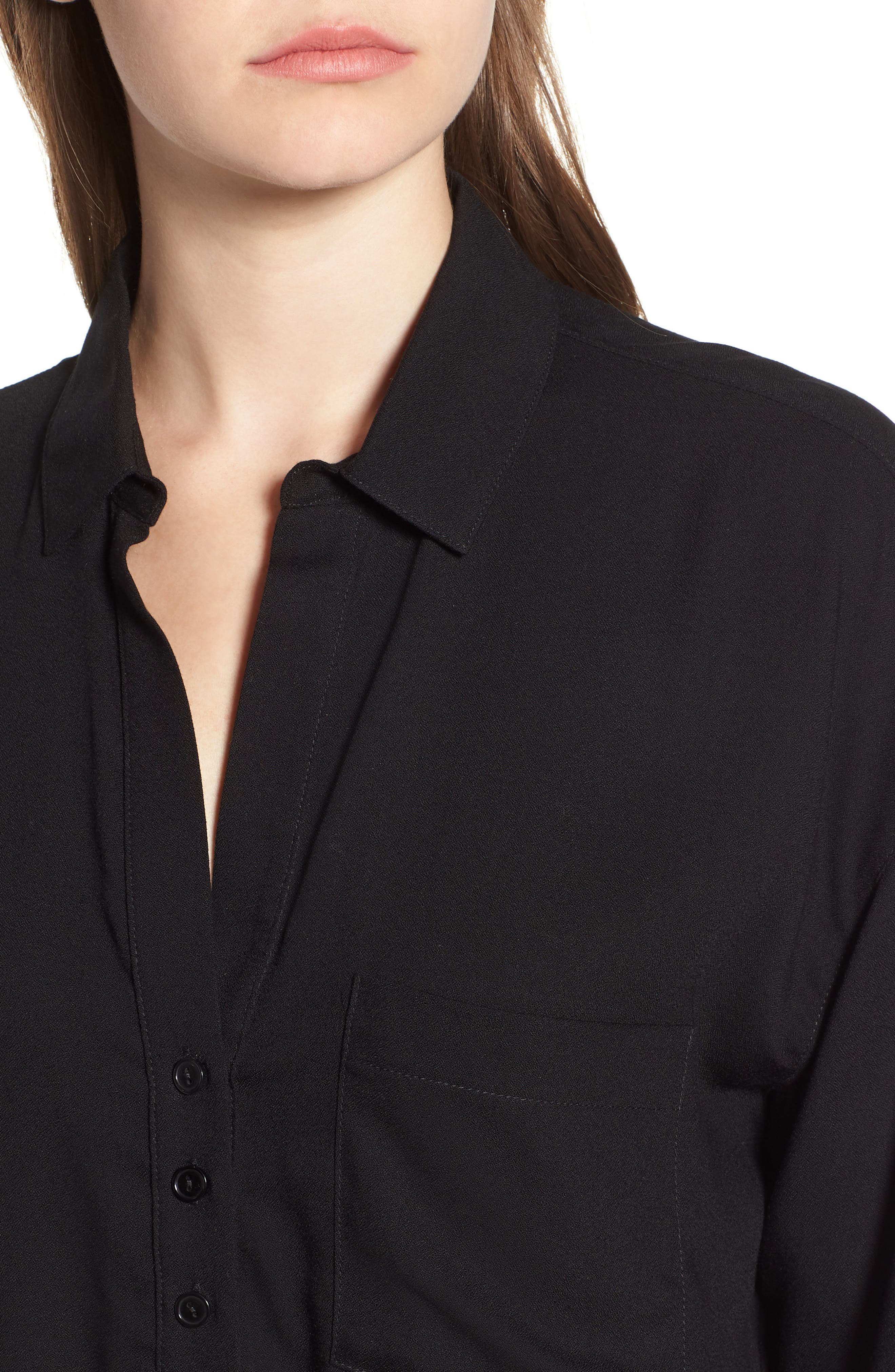Slouchy Pocket Henley,                             Alternate thumbnail 4, color,                             Solid Black