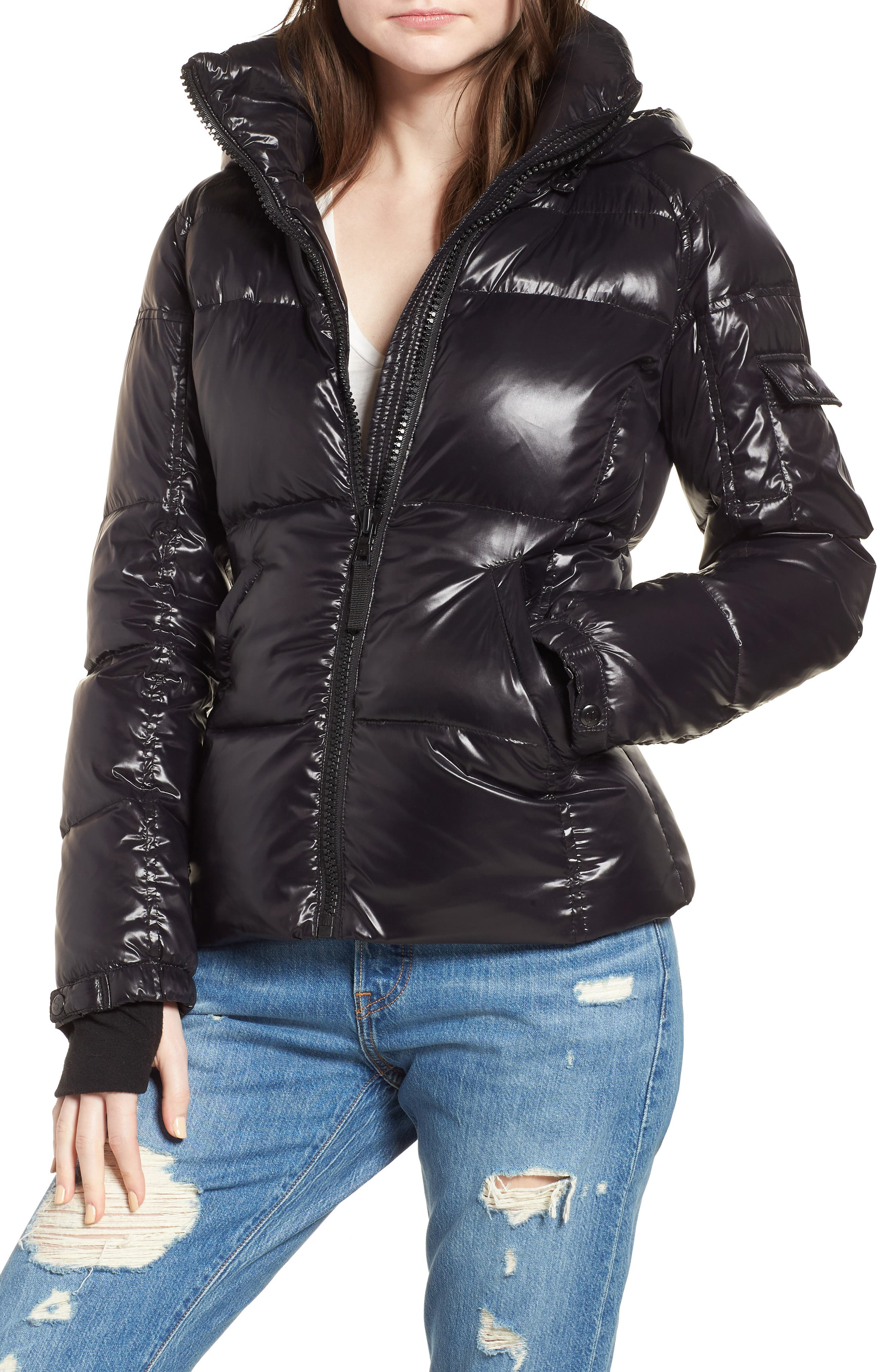 Kylie Metallic Quilted Jacket with Removable Hood,                         Main,                         color, Jet