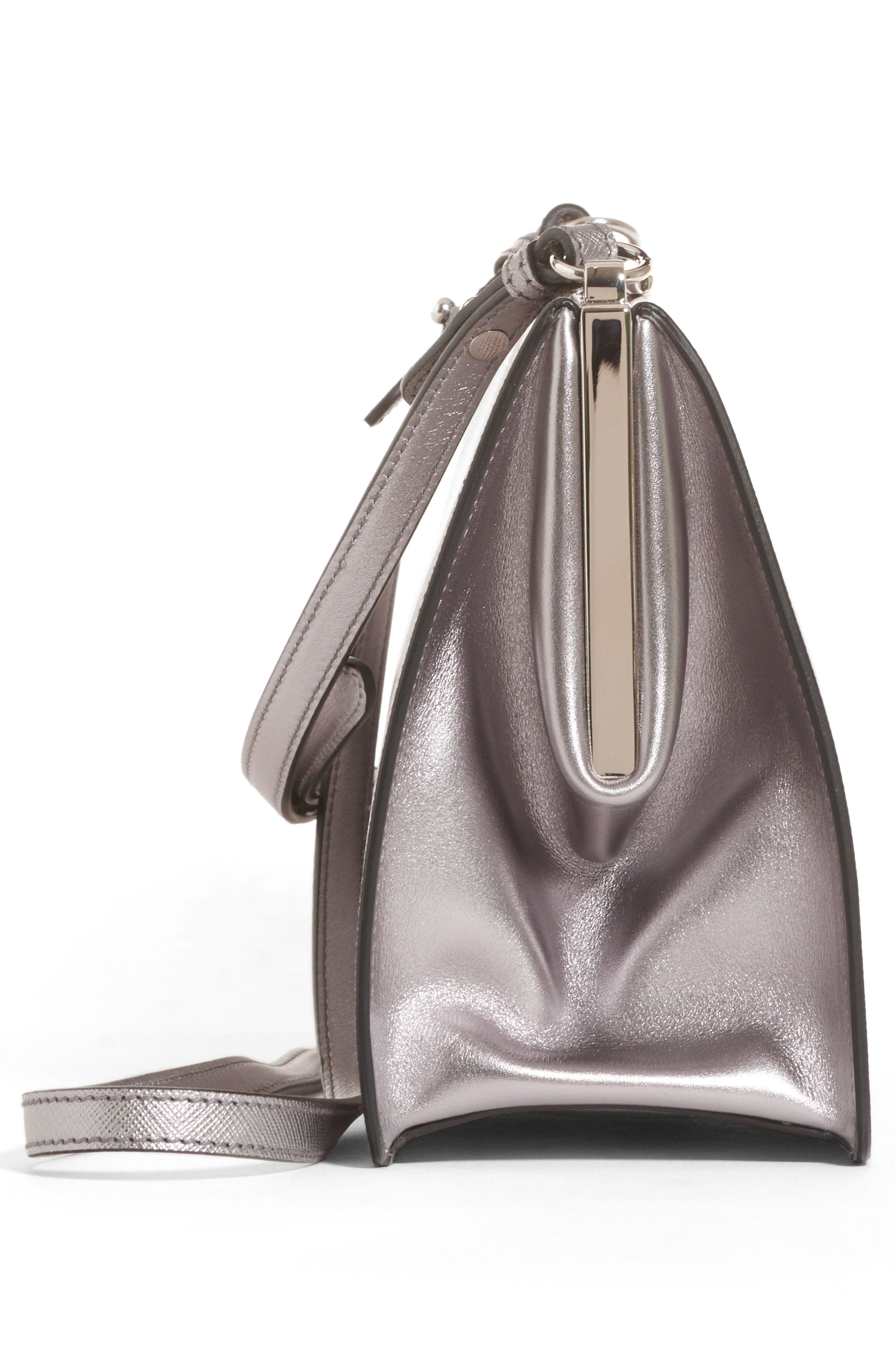 Small Frame Saffiano & City Calfskin Leather Shoulder Bag,                             Alternate thumbnail 4, color,                             Cromo