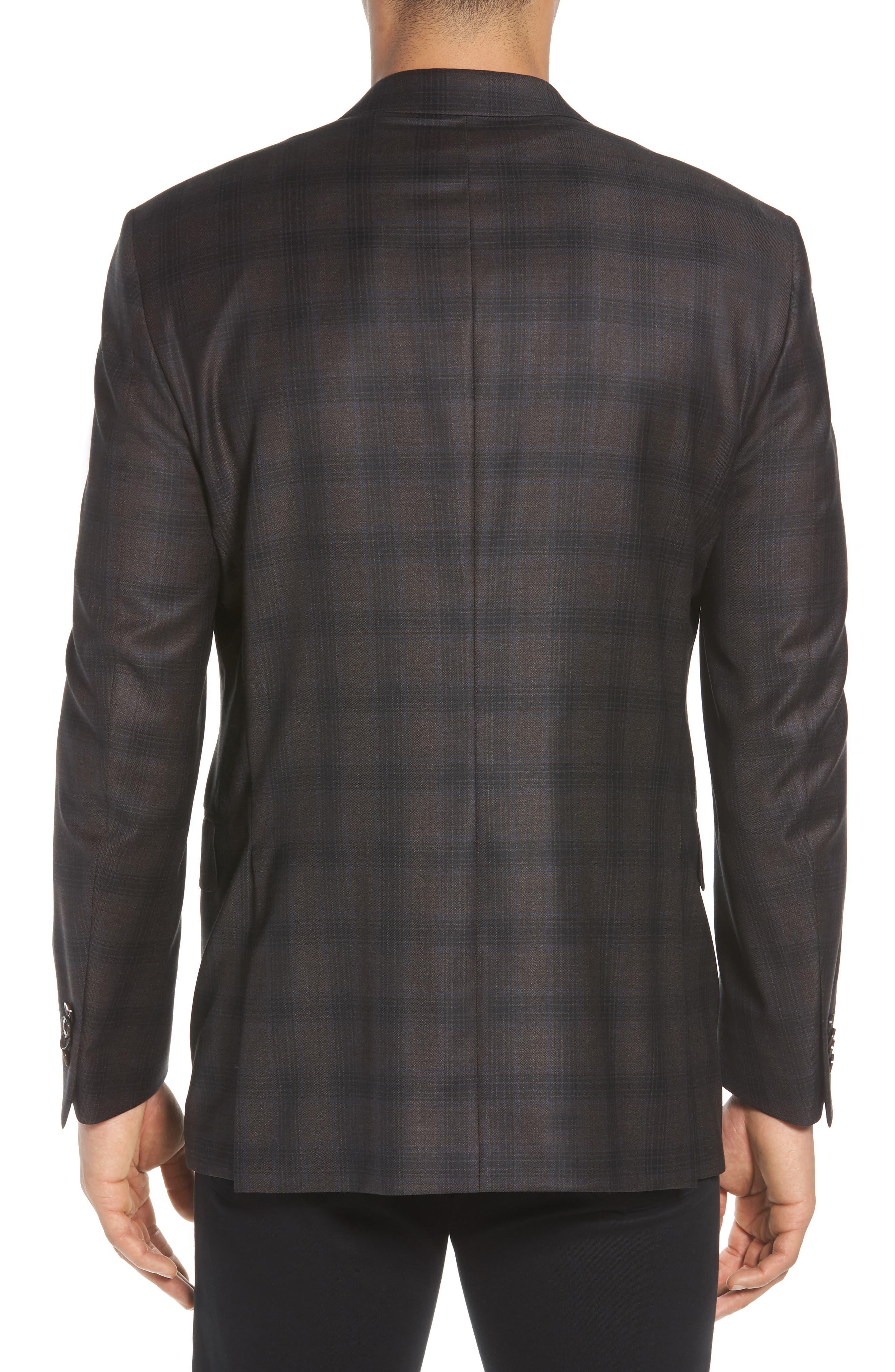 Classic Fit Plaid Wool Sport Coat,                             Alternate thumbnail 2, color,                             Brown