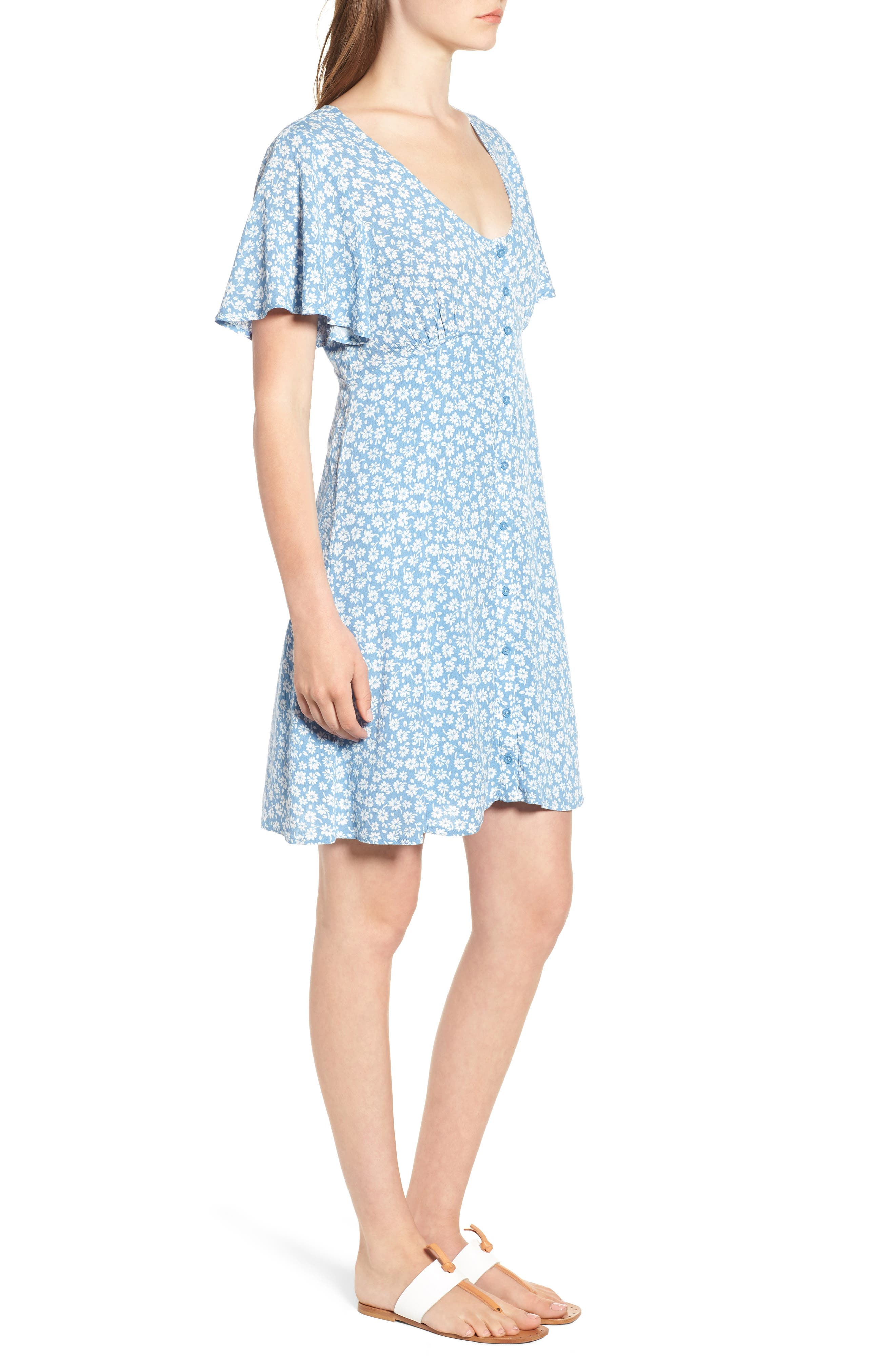 Floral Button Front Dress,                             Alternate thumbnail 3, color,                             Chambray