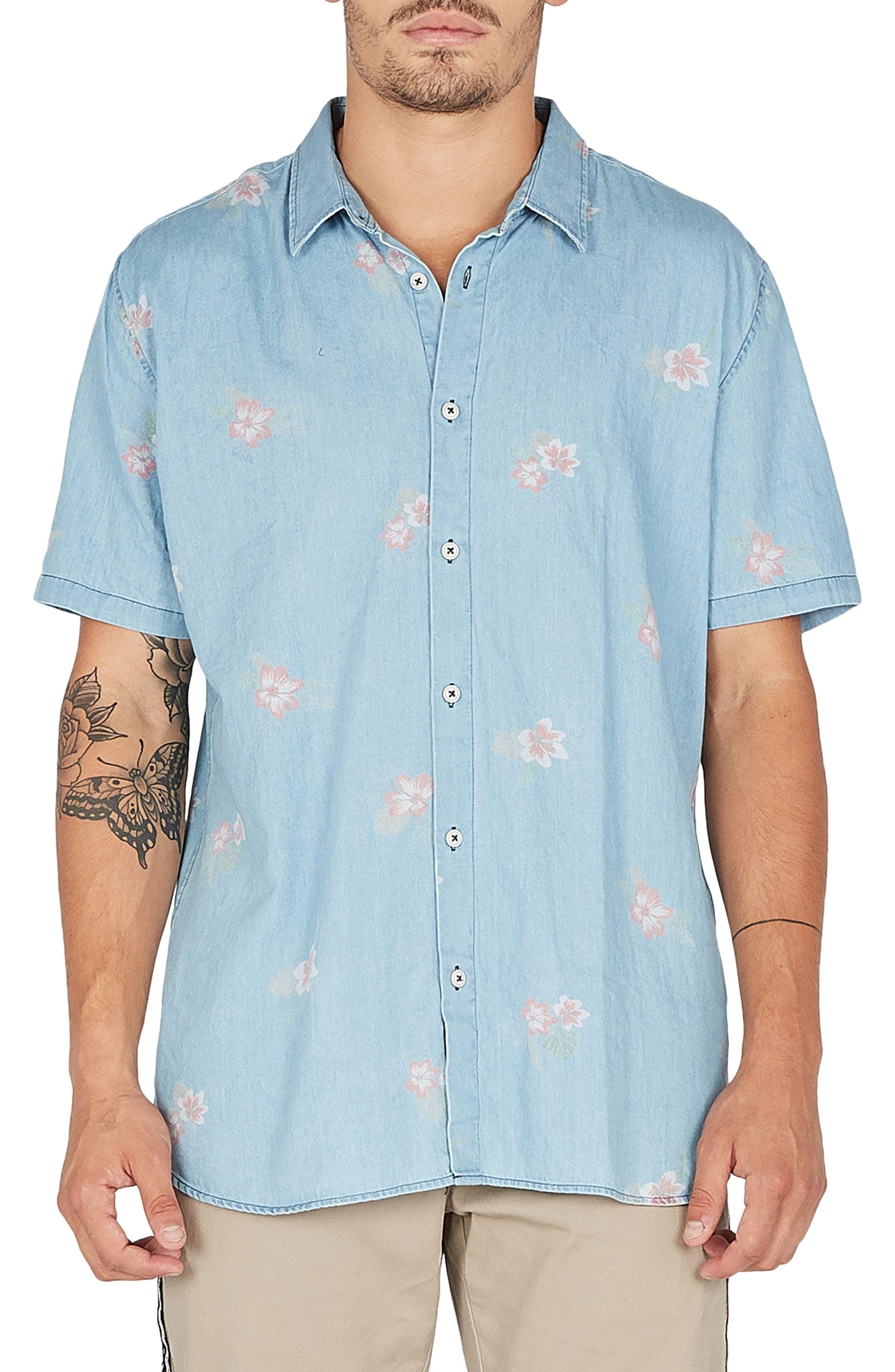 Holiday Woven Shirt,                             Main thumbnail 1, color,                             Indigo/ Floral