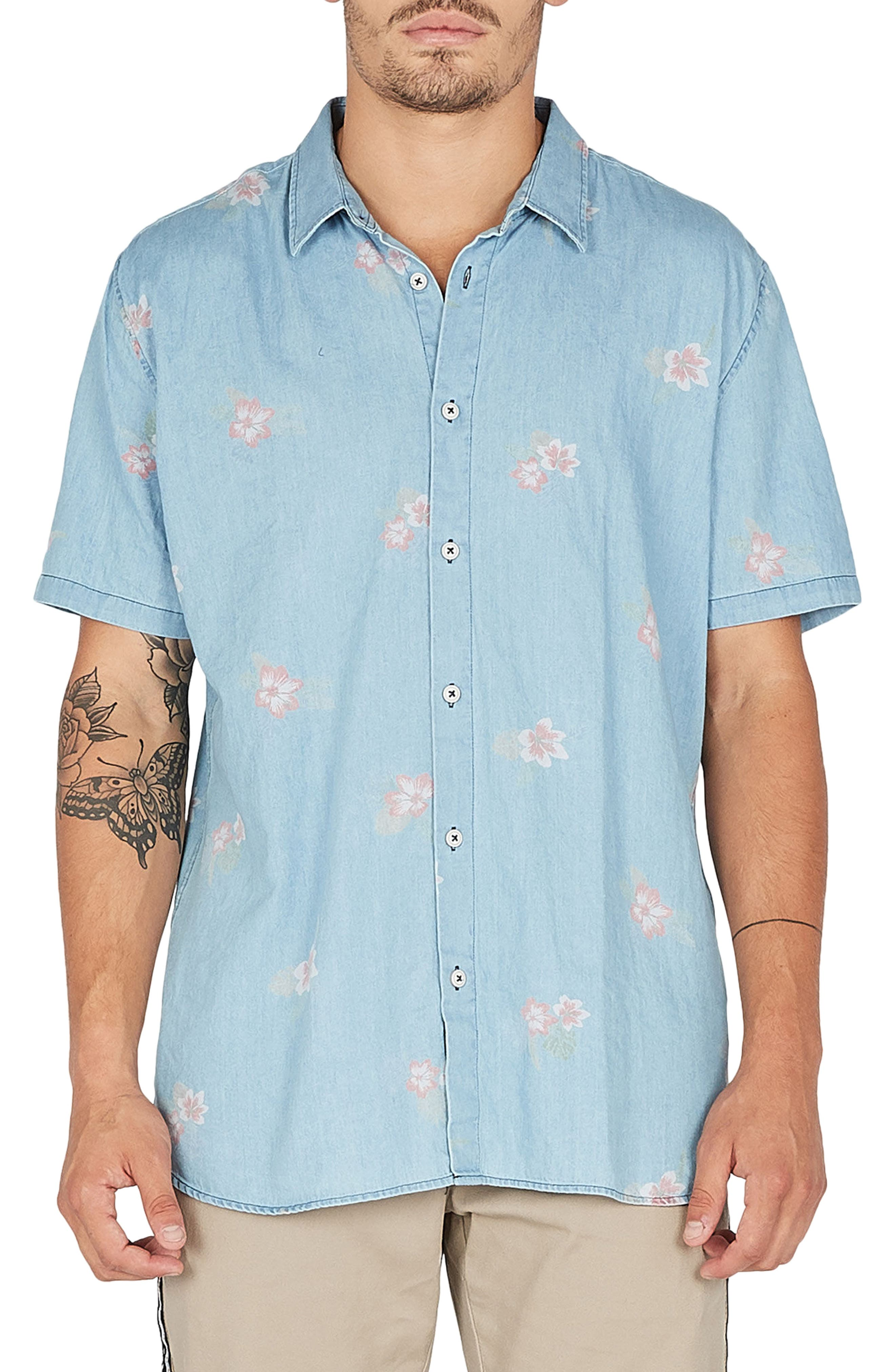 Holiday Woven Shirt,                         Main,                         color, Indigo/ Floral