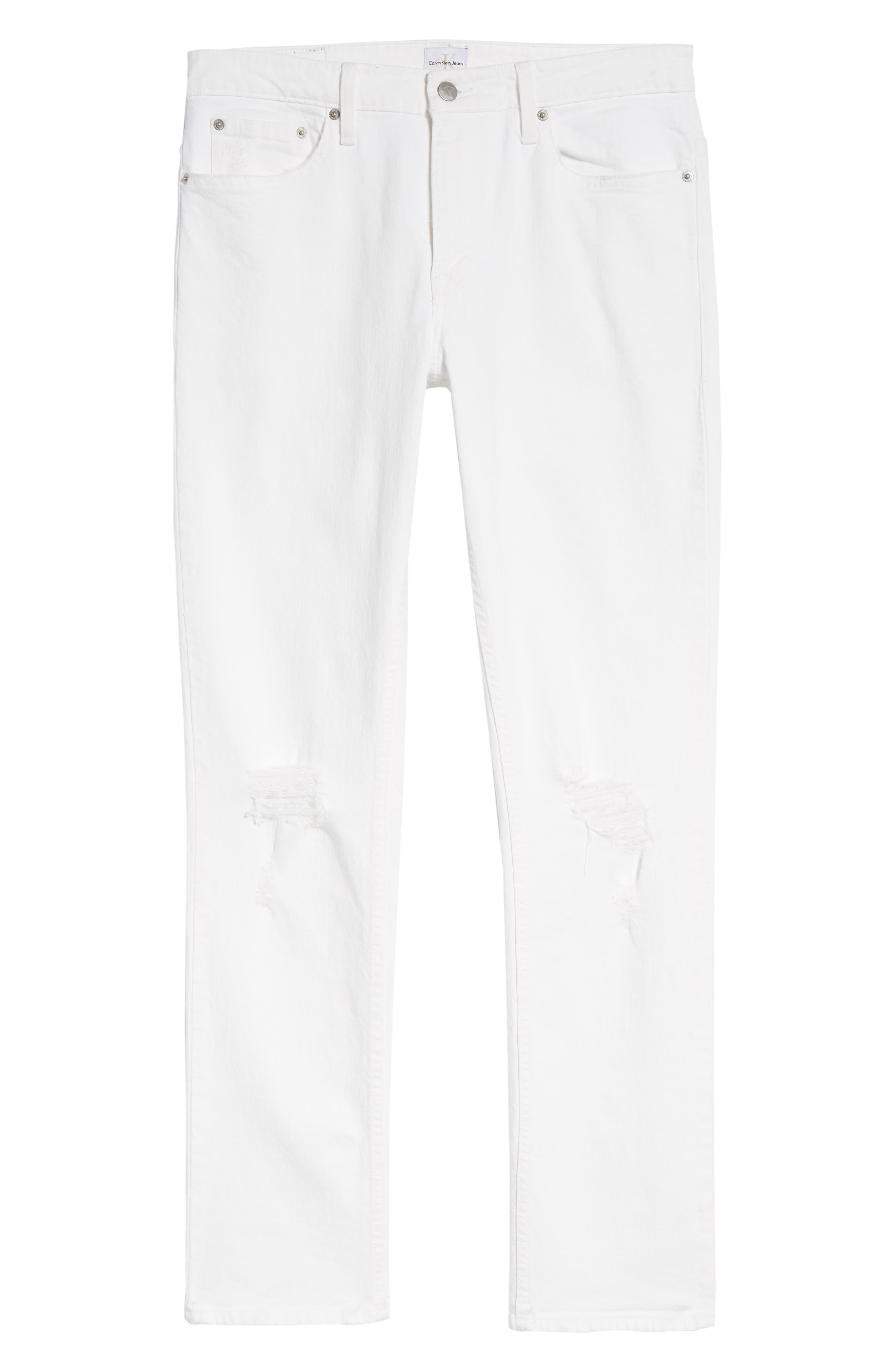 Skinny Jeans,                             Alternate thumbnail 6, color,                             Door White Destruct