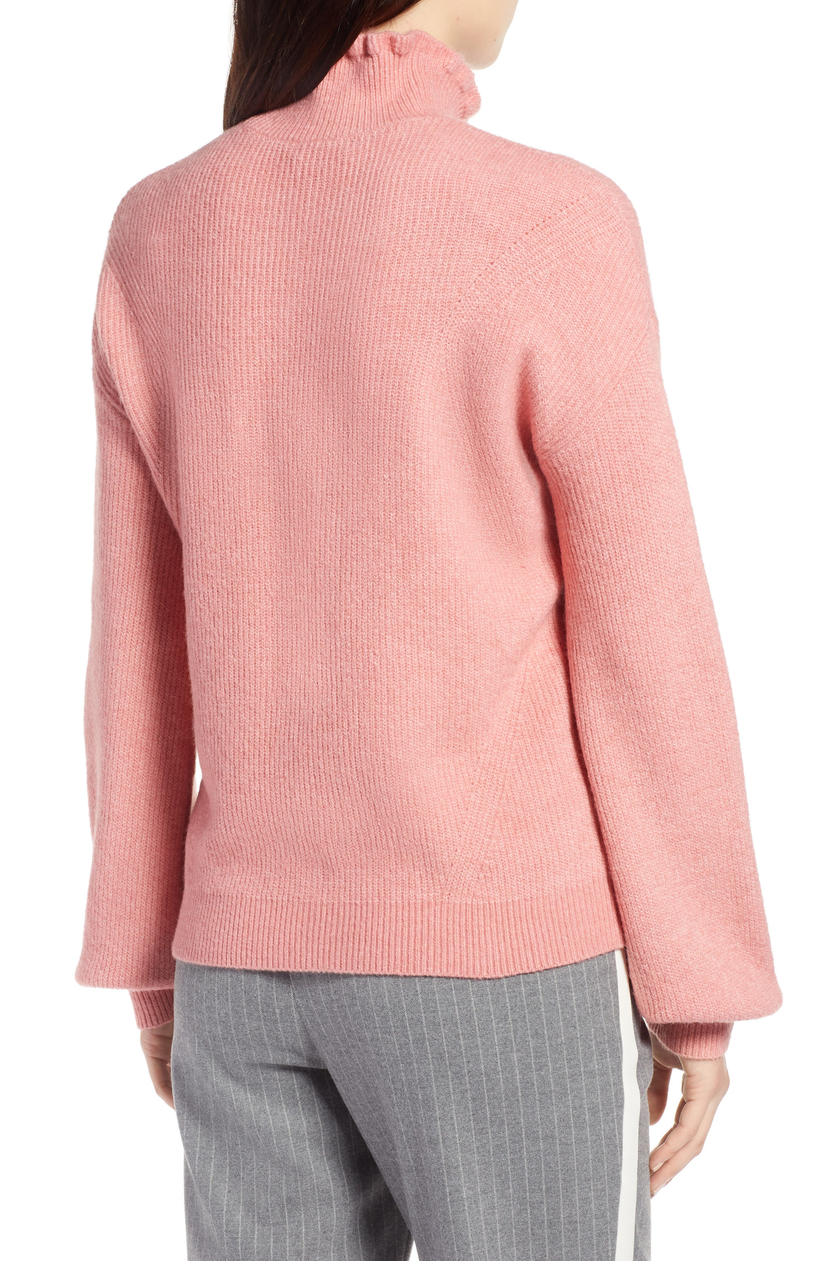 Ruffle Neck Sweater,                             Alternate thumbnail 2, color,                             Pink Apricot